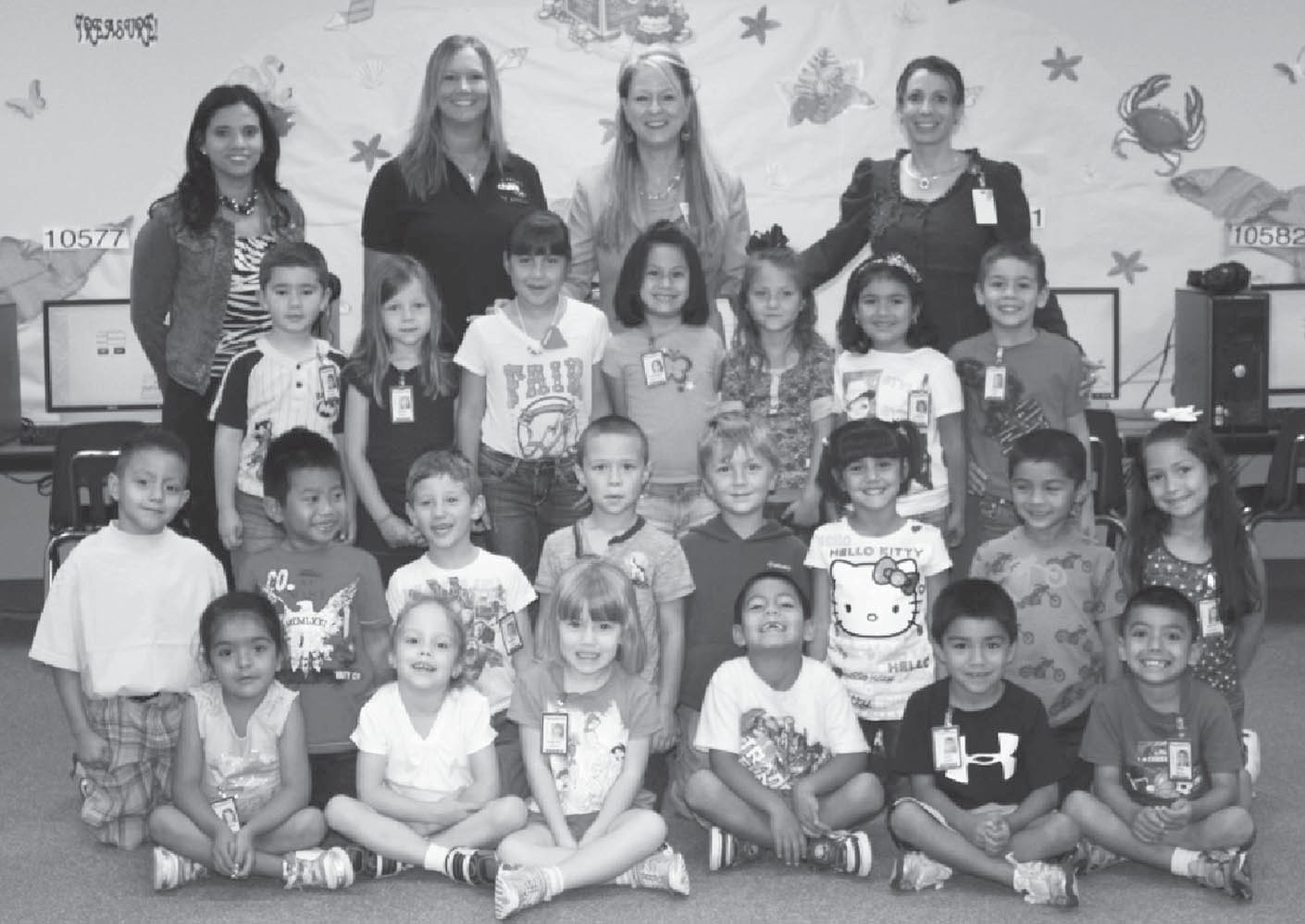 Kindergarten winner – Mrs. Santee's class with $165. Left to right: front row- Angelina Castro, Autumn Webster, Evelynn Caraway, Pablo Lara, Max Rangel, Paul Anthony Bernal; second row- Nathan Cortez, Nathan Din, Robert Brown, Hayden Booker, Ely Rankin, Giselle Garibaldi, Joshua DeLeos, Sophia Castillo; third row- Victor Schaefer, Reese Royal, Analise Ximenez, Angeleigh Benavides, Madalyn Allen, Larissa Villarreal, Lucas Roby;bBack row- Mrs. Santee, Chili's Manager – Mrs. Donaghe, Mrs. Russell, Mrs. Vickers.