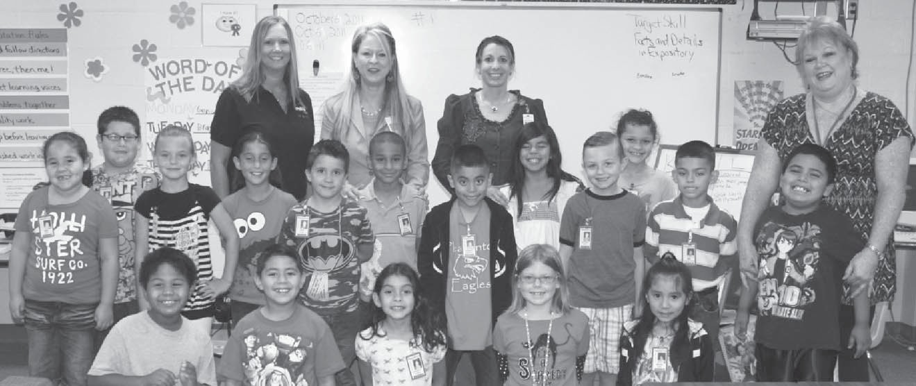 Kindergarten winner – Mrs. Butter's class with $54. Left to right: front row- Kevin Banks, Brandon Gallegos, Chasity Garcia, Emmalee Bond, Selena Cerda; middle row- Erin Light, Tess Underbrink, Cody Love, Johnny Rodriguez, Mayson Smith, Abel Arguijo, Aries Mata, Mrs. Butter; back row- Rodolfo Silva, Chili's Manager Shannon Donaghe, Shyanne Tijerina, Mrs. Russell, Evan Edwards, Mrs. Vickers, Alexis Sandoval and Emery Hardcastle.