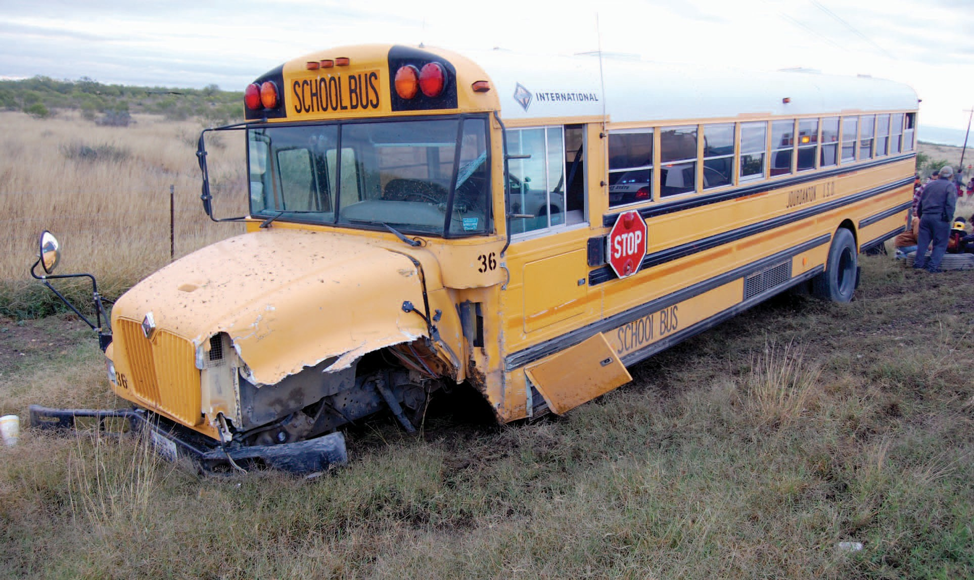A Jourdanton ISD bus held 44 students on their way to school Monday morning when it was involved in an accident five miles south of Jourdanton. None of the children were seriously injured. When the bus collided with a white pickup, the front wheels and axle were knocked loose, leaving the bus without any steering control.
