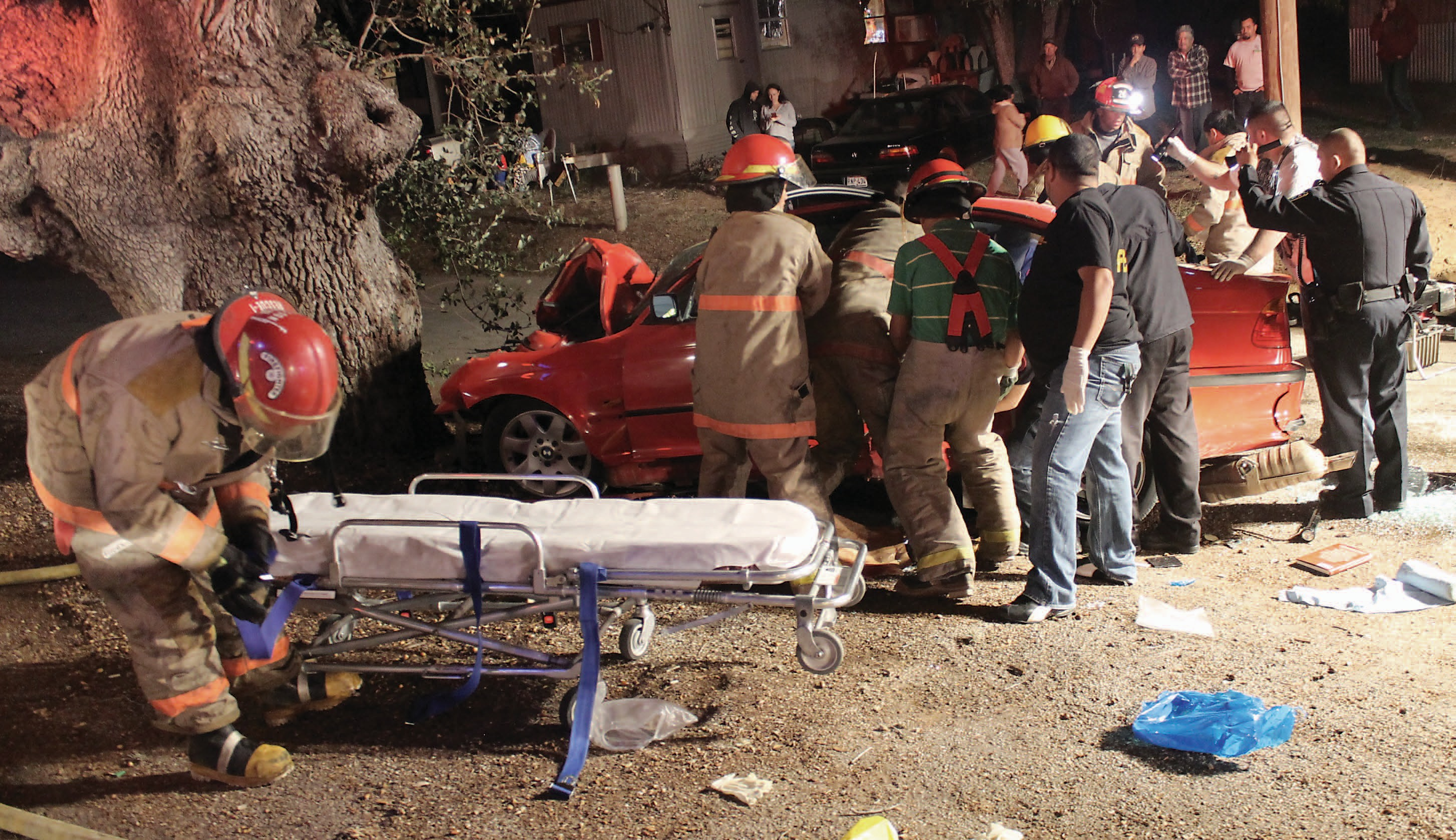 Driver Shannon Dee Richeson, 35, from Talco died as a result of a one-car crash into an oak tree oš of Bryant and both passengers were air lifted to University Hospital in San Antonio.