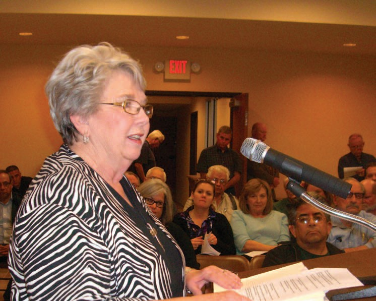 "Judy Havins informs council, ""Since Nov. 28, 2011, a group of qualified voters have collected 728 signatures in support of this petition."""
