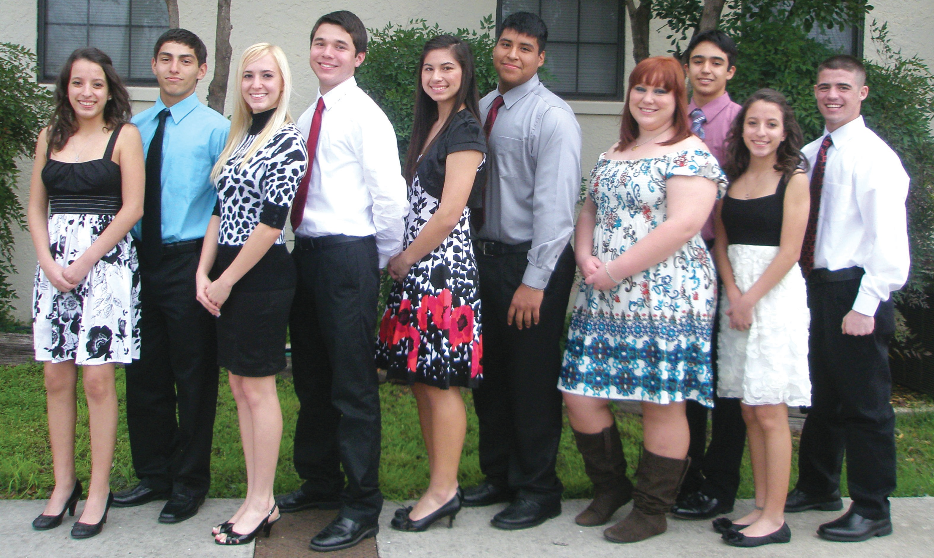 The annual Poteet Strawberry Festival tea was held on Feb. 4 at the Poteet Methodist Church. The court members (from left to right) are: Lindsay Ramon, Ronald Sanchez, Savanah Holloway, Cameron Uribe, Lauren Zavala, Adrian Contreras, Samantha Mikolajczyk, Alejandro Garcia, Leslee Ramon and Brandon Lopez.