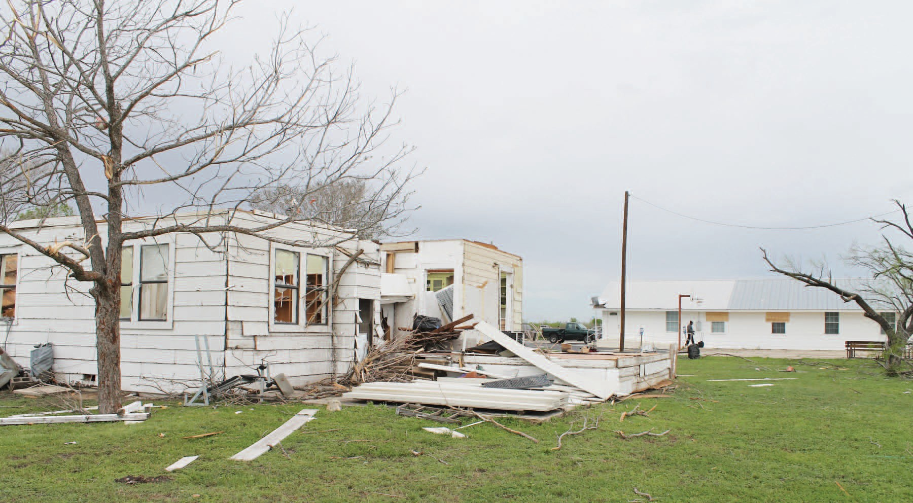 Country Baptist Church located on the corner of FM 471 and FM 463 out of Natalia suffered a total loss of this 4-bedroom home that was used as a Bible Study and Recreation area.