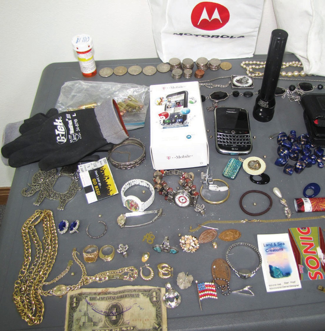 Assorted items found from crime spree that spanned over two counties resulting in a felony arrest.
