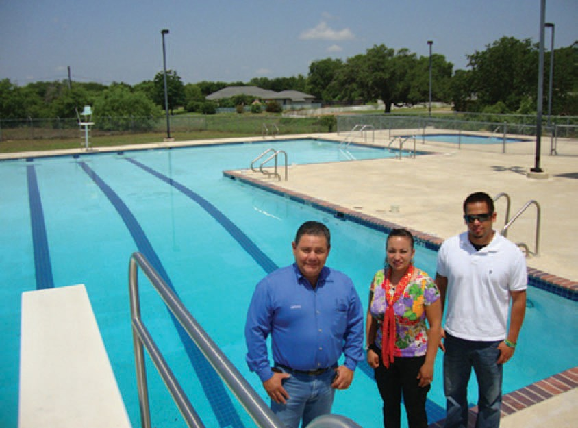 Pool Administrator Johnny Huizar, Maria Lozano Pool Human Resources and Pool Manager Andres Aguirre are getting the Pleasanton Public Pool ready for the holiday weekend and summer. The pool opens this Saturday, May 26 at 1 p.m.