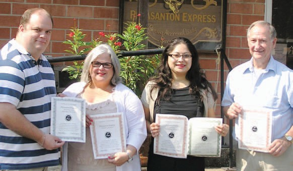 David Wickersham, Sue Brown, Lisa Luna and Leon Zabava all won awards at the Texas Press Association's Better Newspaper Contest held last Saturday in San Antonio. To see their winning entries, visit our online edition at www.pleasantonexpres.com.