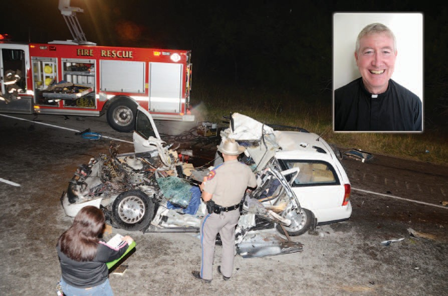 Father Michael Jordan (inset), 65, a priest with the Society of Our Lady of the Most Holy Trinity in Robstown, Texas was pronounced dead at the scene Monday in an accident on I-37 South in Atascosa County according to the Texas Department of Public Safety. The accident which occurred around 9:30 PM at mile marker 91 involved the white Saturn driven by Father Jordan and an 18-wheeler. Rev. Edward Roche, 52, a passenger in Father Jordan's vehicle was found injured at the scene clutching a rosary in his hand. Father Roche was taken to University Hospital, San Antonio, in stable condition. Traffic was shut down on IH-37 for three hours.