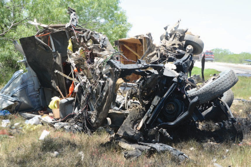 Three 18-Wheelers collided on Hwy. 72 between Tilden and Three Rivers on Monday morning, July 30 taking the life of two men and critically injuring a third.