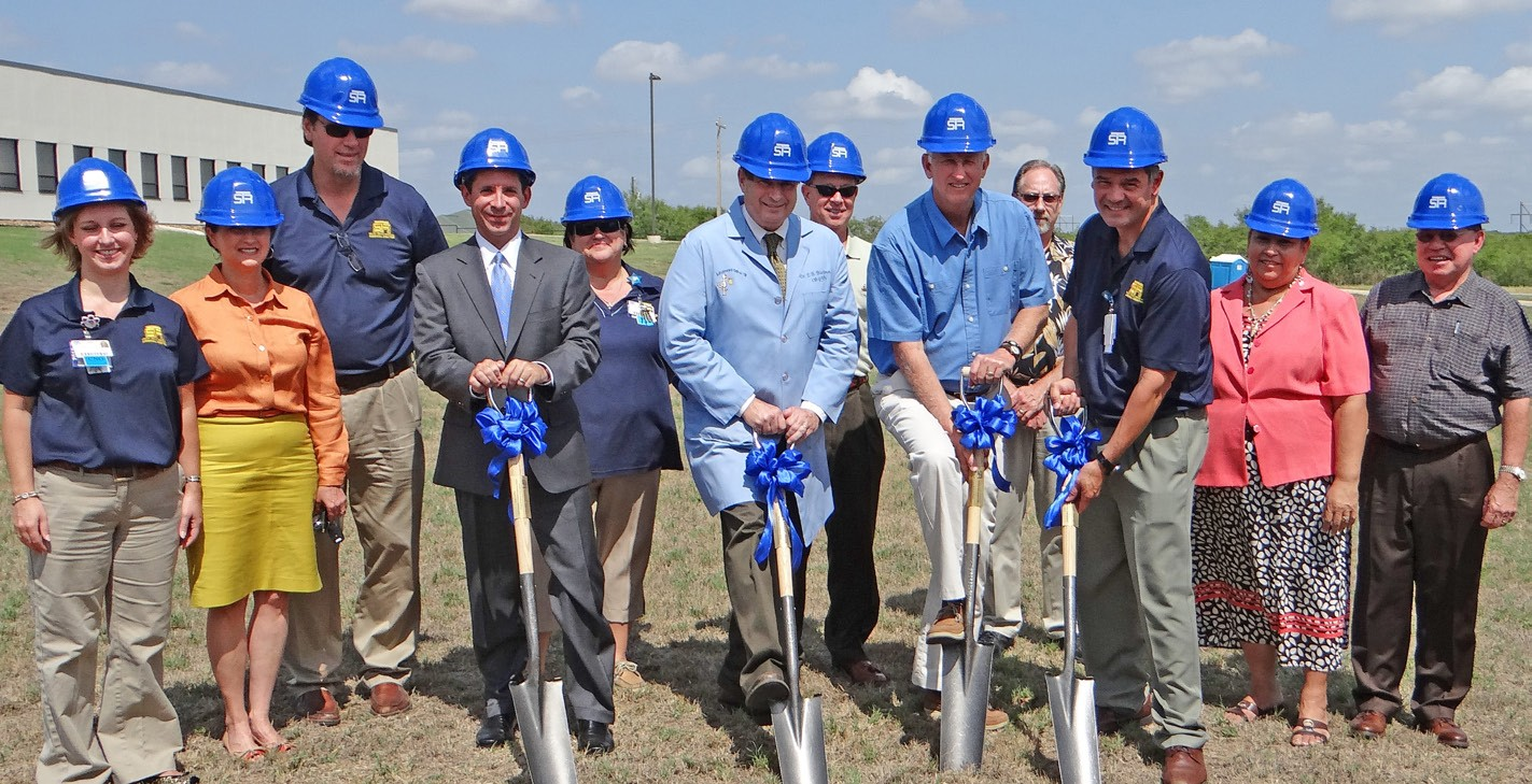 Breaking ground for the South Texas Medical Plaza in Jourdanton are STRMC staff and board members: left to right, front row: Shelly Farrow, Chief Nursing Officer; Connie Hurley, board member; Chad Guenther, Atlee Development; Edward Blackmon, M.D. Chief of the STRMC Medical Staff; Jim Andrus, STRMC board chair; Jim Resendez, Chief Executive Officer; Margie Mendez, board member; Edward Haverlah, board member; back row: Will Brown, Marketing Director; Rita Castillo, Chief Quality Officer; Wade Hodgin, board member and Gary Redmon, Chief Financial Officer.