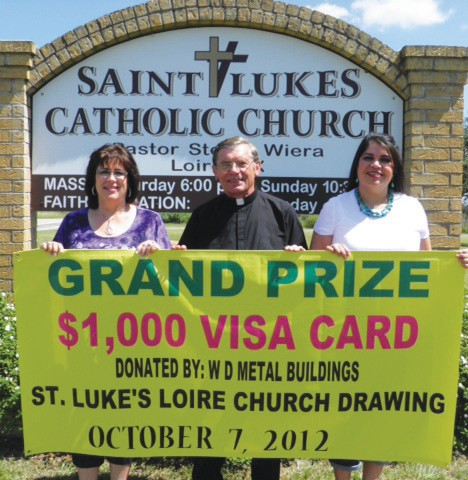 Inviting all to St. Luke' Catholic Church Fall Festival this Sunday, October 7 are Gail Slomchinski, Reverend Stefan Wiera and Lillian Cashmer. Great barbecue - serving starts at 11 a.m. - and the popular silent auction plus afternoon entertainment is planned along with lots more.