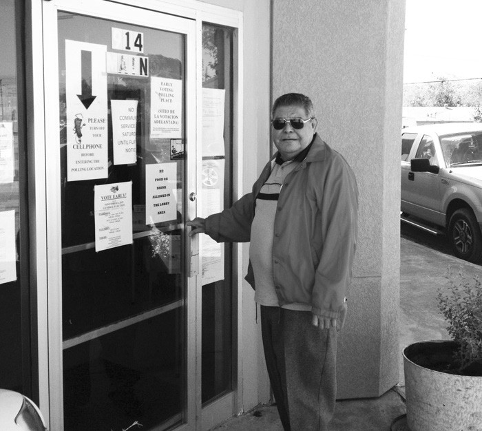 Arnie Garces prepares to vote early for the November General Election. Early voting continues through Friday, 8 a.m. until 5 p.m. Polls will open at 7 a.m. on Tuesday, November 6 and close at 7 p.m.