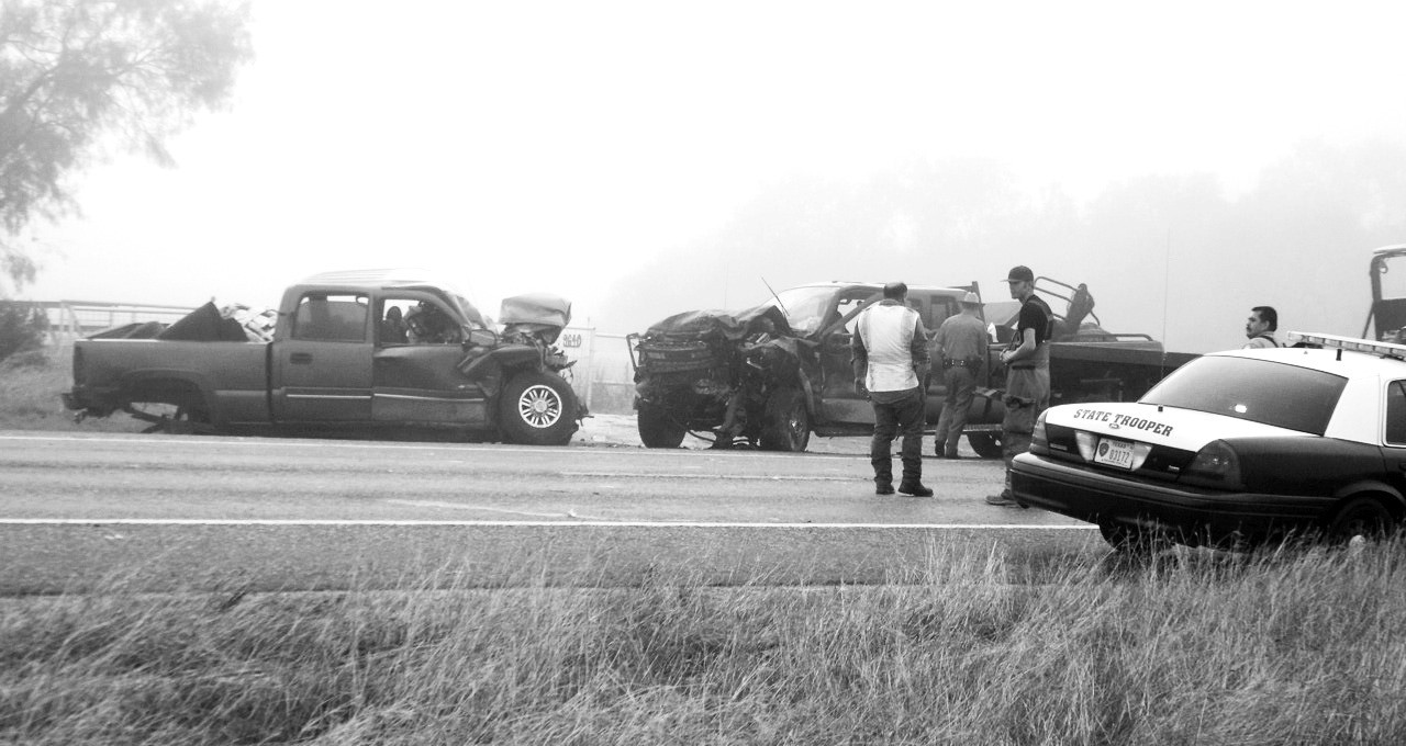 Two were killed on a foggy Thursday morning on Hwy. 16 near FM 140. Both Jourdanton and Christine Volunteer Fire Departments responded to the head-on crash.