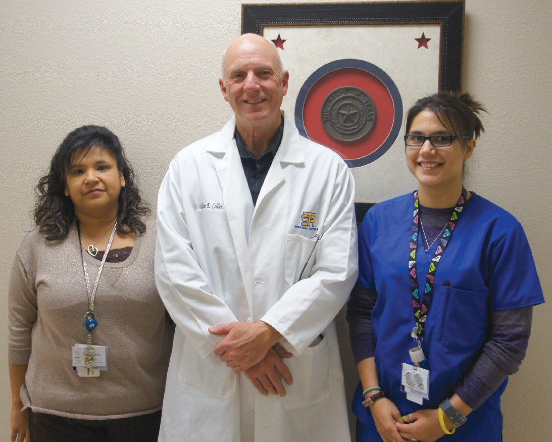 Ready to meet your urgent care needs are: Debora Garza (receptionist), Dr. William Collier and Barbara Aguilar (radiology).