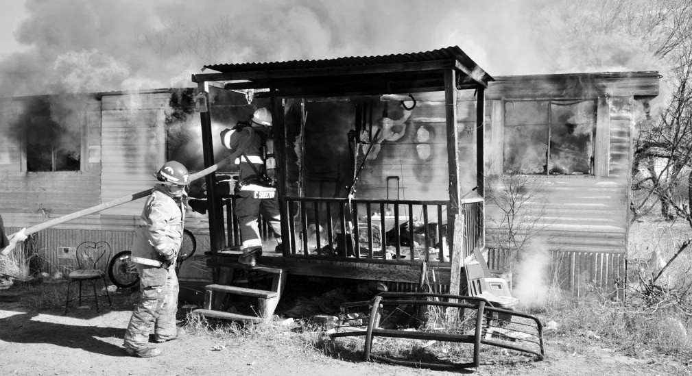 Jourdanton and Pleasanton Volunteer Fire Departments responded to this mobile home fire was on Palm Street in Jourdanton on Saturday, Jan. 19. A person was treated for smoke inhalation at the scene.