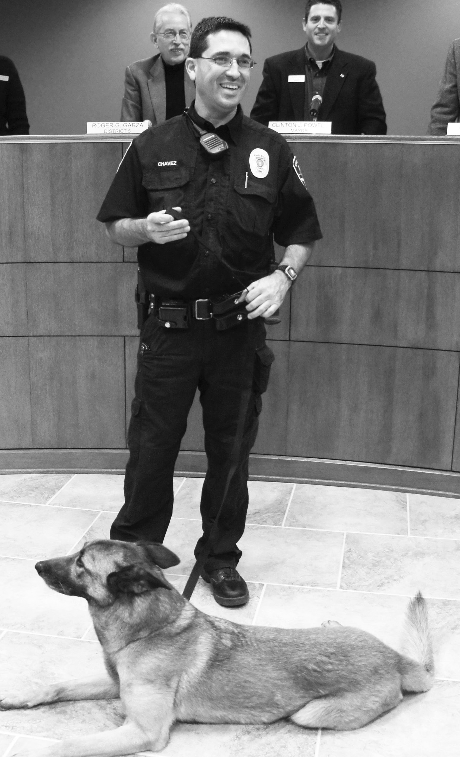 Jourdanton Police Officer Joel Chavez, formerly of the Pleasanton Police Department, shares a few words on the retirement of Lady, the K-9 officer.