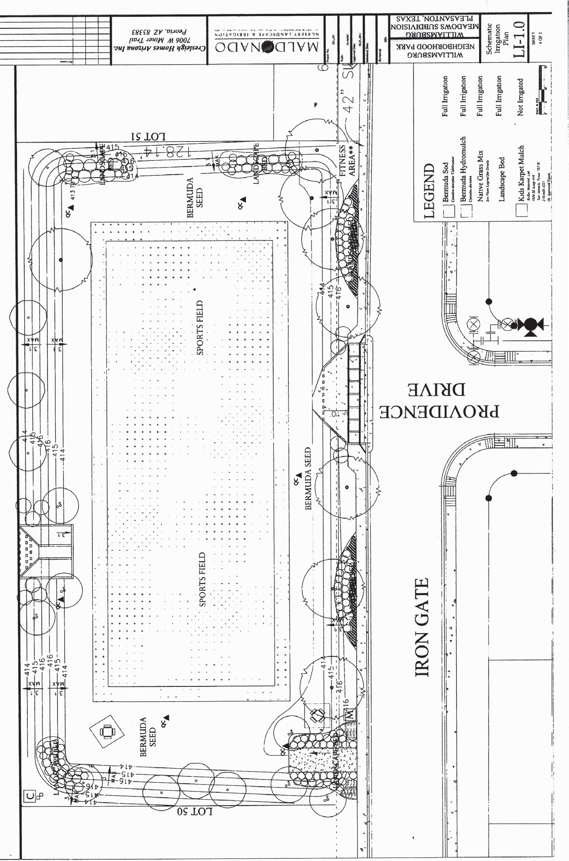 The design for the park that will be built in the Williamsburg Phase IV subdivision shows a sports field and picnic areas. The park, built by the developers, will be situated at the far east end of the subdivision, located off of FM 3350 and Goodwin Street area.