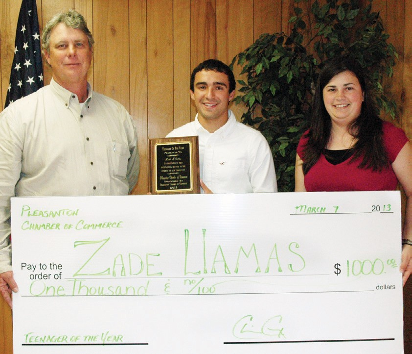 Zade Llamas was named Teenager of the Year, sponsored by Pleasanton Chamber. Zade receives his plaque from Chamber President Chico Cox and 2nd Vice President Candace Vrana as well as a $1,000 scholarship from the chamber.