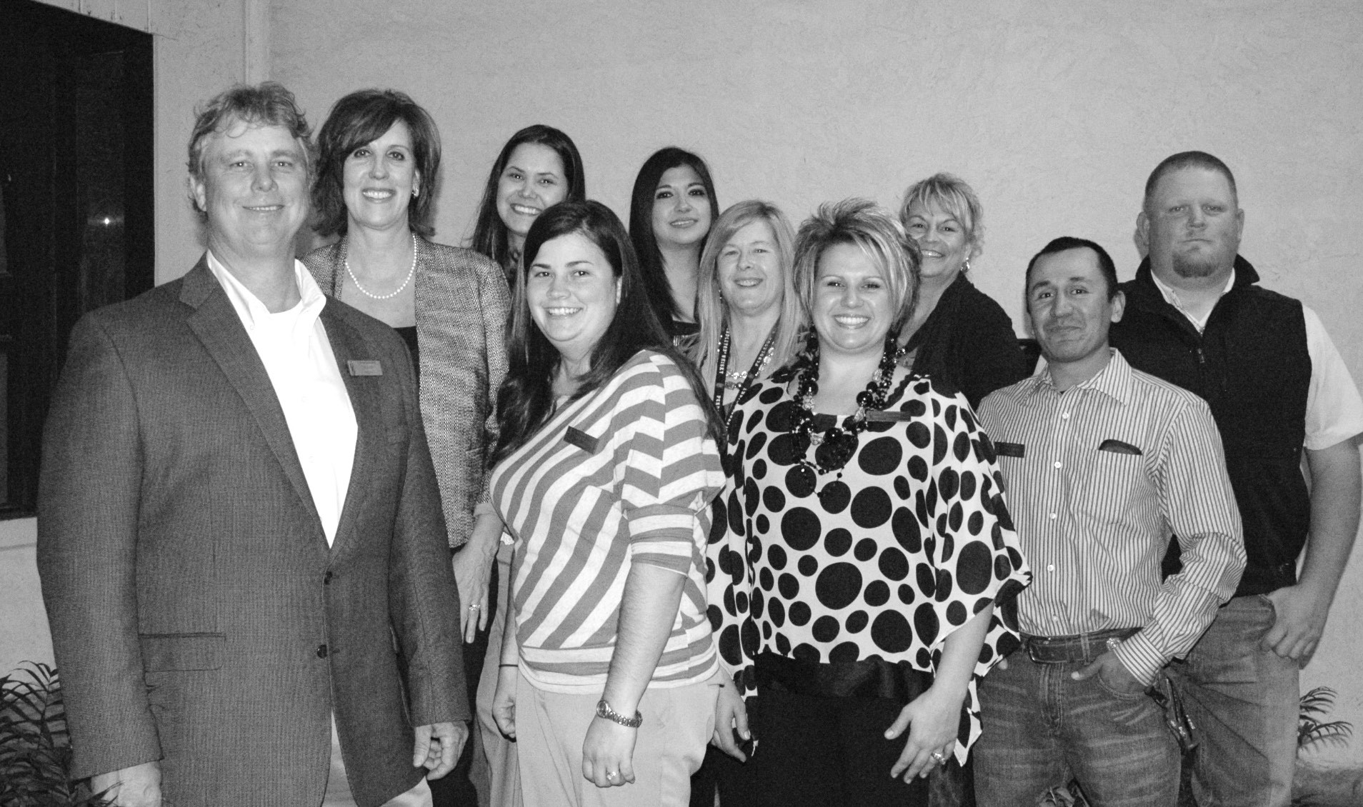 Pleasanton Chamber of Commerce officers and directors gather after the 2013 awards banquet. Left to right are: President Chico Cox, Director pat Seay Cox, Treasurer Ginnie Otto, 2nd Vice President Candace Vrana, Director Jackie Brown, Director Sharon LaGrange, Director Kelly McBee, Director Kellie Vrana, Director Jorge Quiroga and 1st Vice President Wade McBee. Missing from the photo are Secretary Claudia Reyes, Jason Reyes, EricOtto and Rita Castillo.