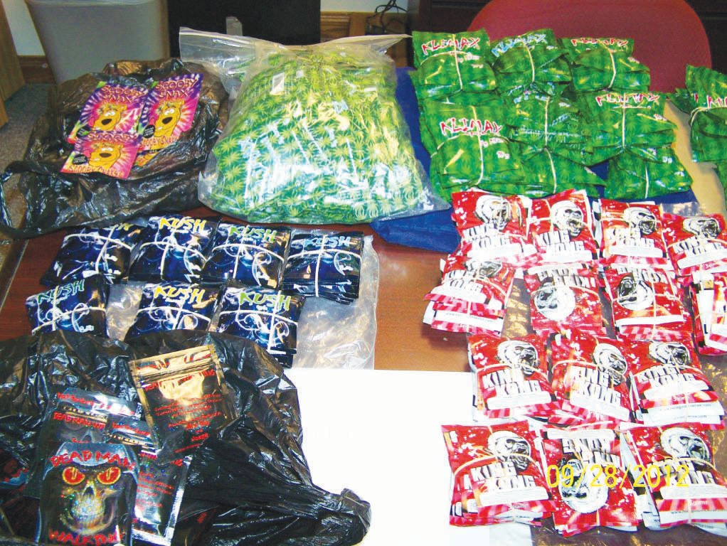 Brightly colored packets of synthetic marijuana were confiscated from a convenience store after an investigation by the Pleasanton Police Department.