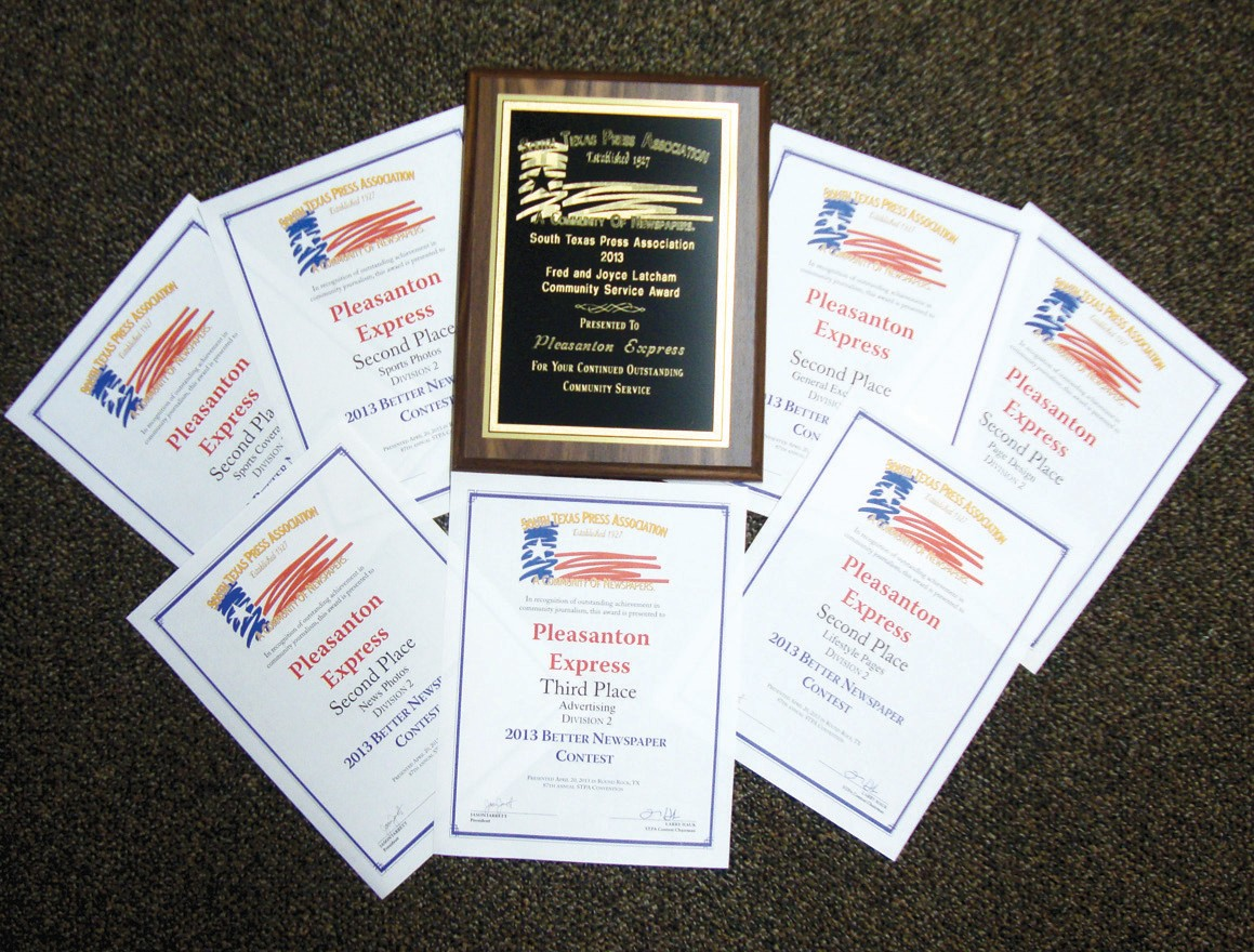 The Pleasanton Express staff won eight awards at the South Texas Press Association Better Newspaper Contest last week in Round Rock. Second Place certificates were given in General Excellence, Page Design, Lifestyles, News Photo, Sports Photos and Sports Coverage. Third place was awarded in Advertising and a plaque for first place in Community Service.
