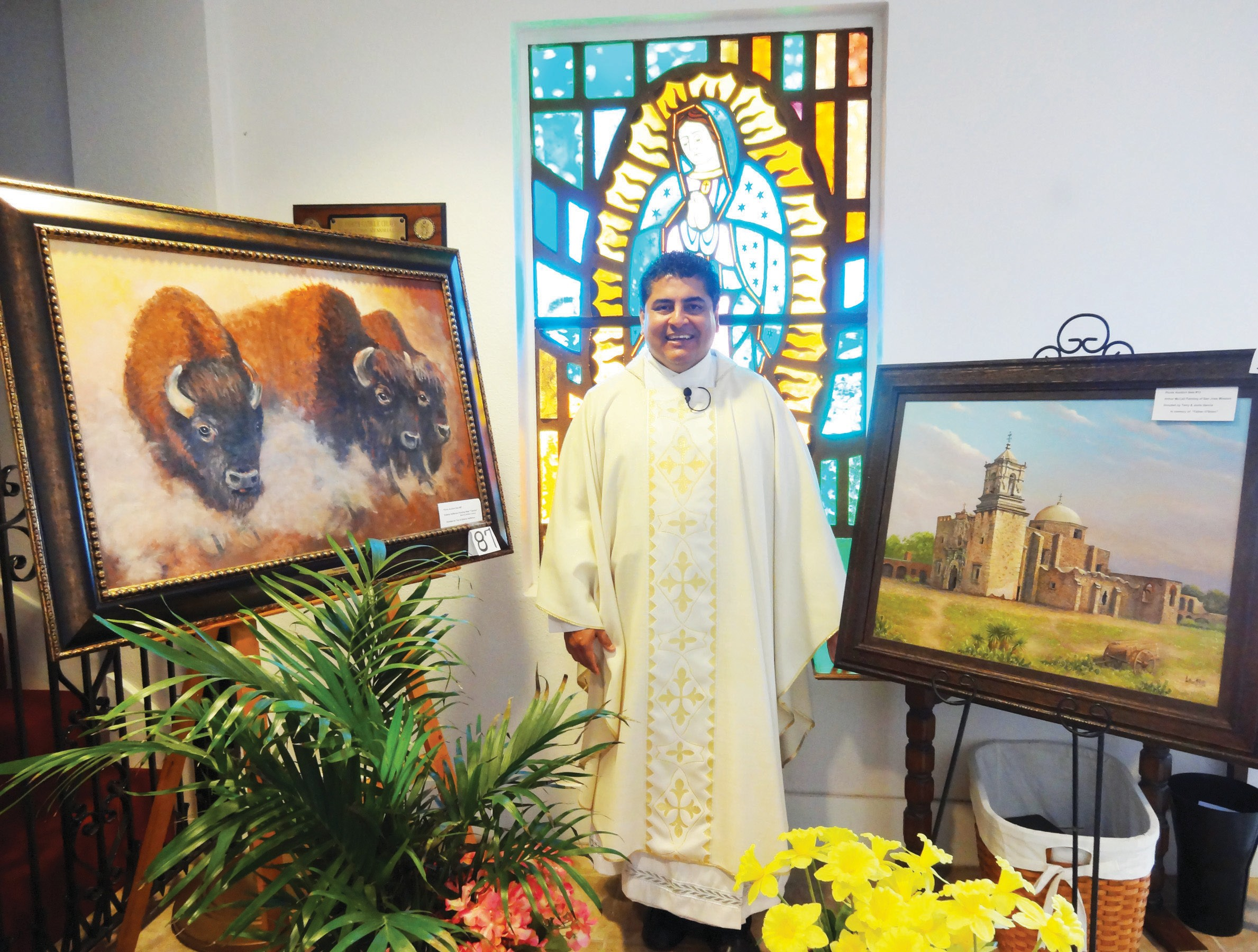 Father Gilberto Vallejo of St. Andrew Catholic Church invites all to attend the annual church picnic and auction this Sunday, May 5. Some of the items that will be available to bid on are two original paintings by local artists. Arthur McCall's painting of San Jose Mission donated by Terry and Janie Garcia in memory of Father Thomas O'Brien and a painting by Edwina Heffernan of buffaloes. The barbeque dinner will begin at 11 a.m. Tickets are $7 and include brisket, sausage and all of the trimmings.