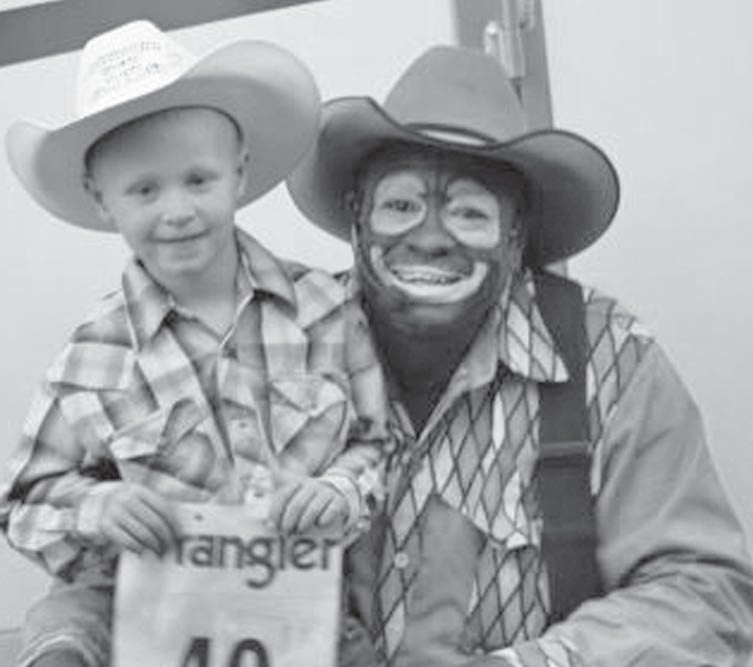 Josh Hill received a few words of wisdom from world famous rodeo clown Leon Coffee before the Mutton Bustin' event at Cowboy Fellowship's 10th Anniversary celebration. Not only is Coffee known and loved as a protector of cowboys and a fabulous entertainer, he is a deeply convicted Christian who Saturday night stood in front of an arena full of fans and declared his love of God in a very moving testimony of his faith.