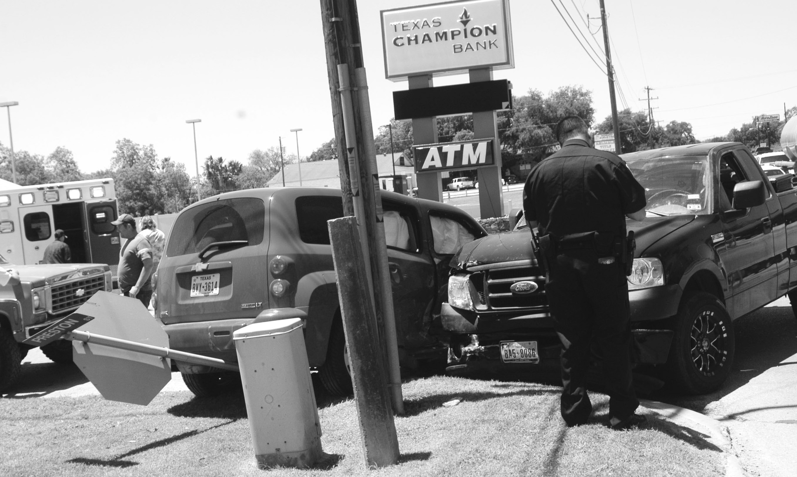 This wreck occurred Friday afternoon, May 3rd, at the corner of Preston and Oaklawn in front of HEB. There were no known injuries at the time of the accident.