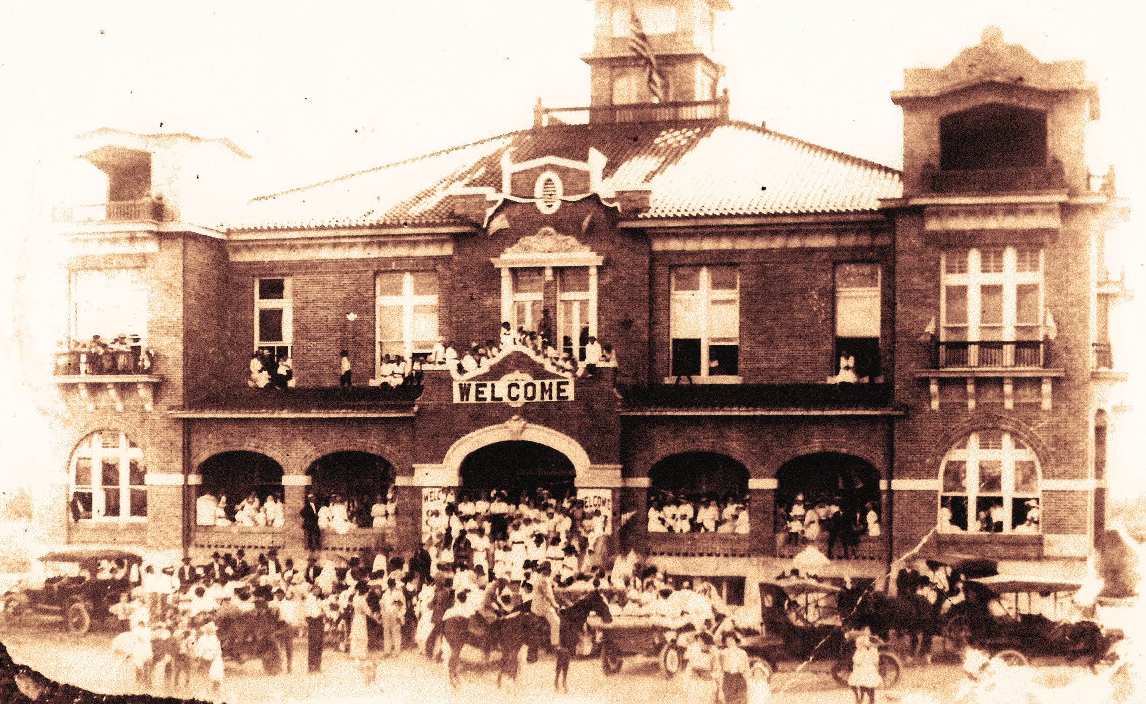 This photo of the courthouse (circa 1913) was most likley captured on the opening day of the new building. This particular image was found during an earlier renovation of the courthouse by Norman Porter Sr., historian, and Joe Cantu a courthouse employee, according to Atascosa County Judge Diana Bautista.