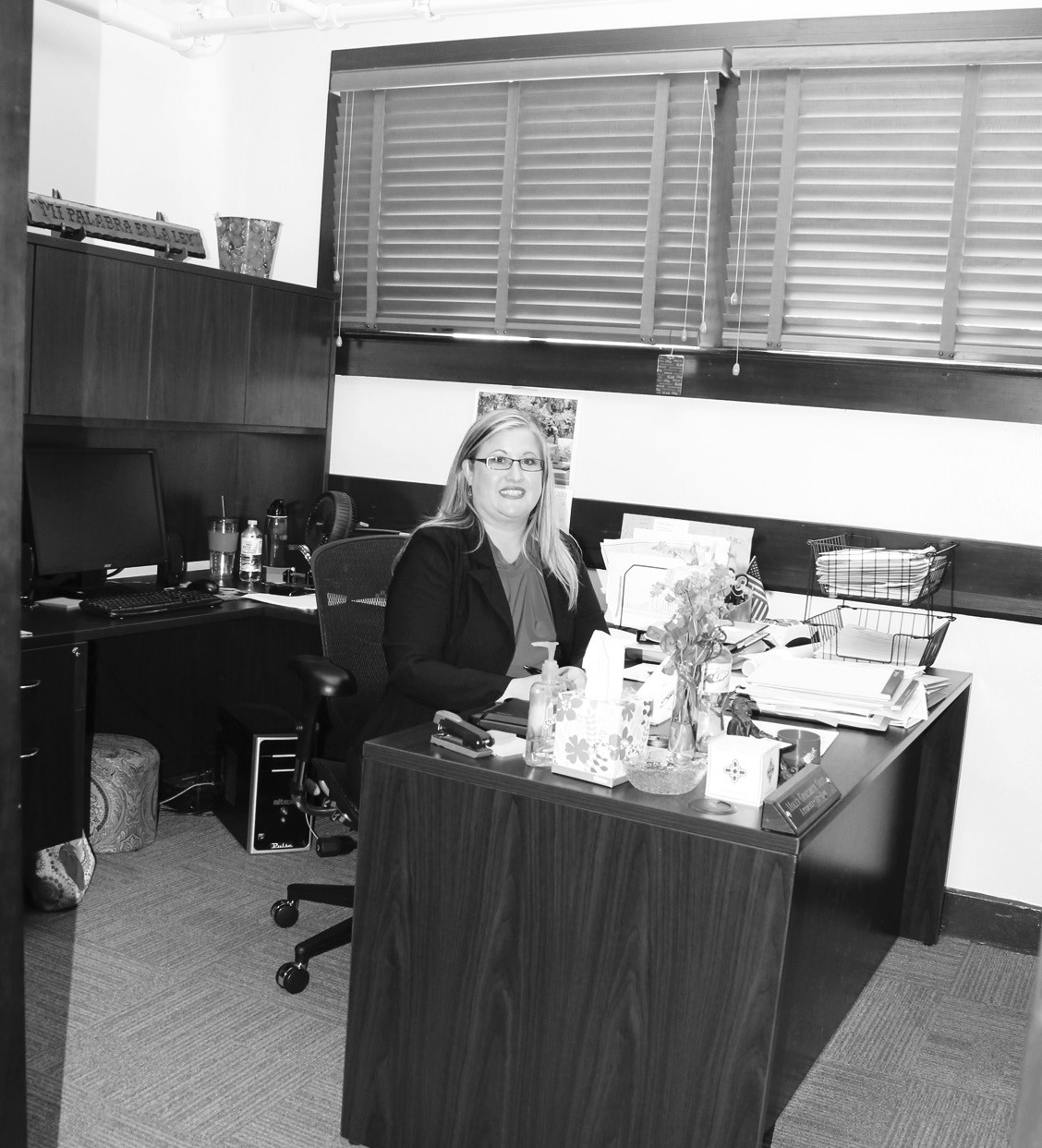 Assistant County Attorney Molly G. Solis, in her renovated office at the Atascosa County Courthouse.