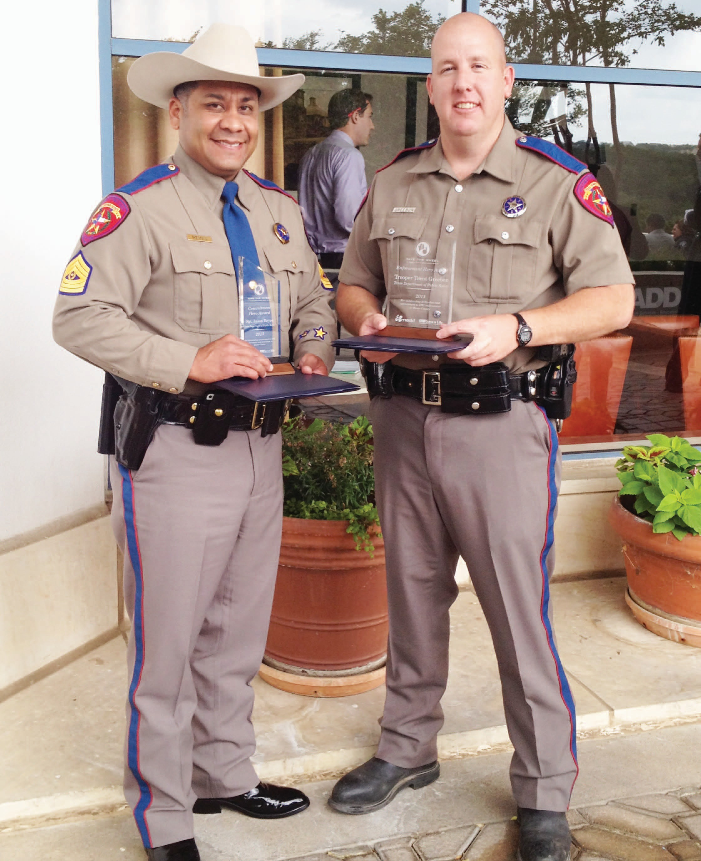 Area officers received top honors for their service during Officer Memorial Week. The event was sponsored by (MADD) Mothers Against Drunk Driving and was held on Wednesday May 15,2013 at Westin La Cantera Hill Country Resort. It recognized these individuals for their efforts against drinking and driving. Sgt. Jason I. Reyes (left) received the Commitment Hero Award while Trent Greebon (right) received the Enforcement Hero Award.