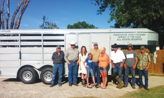 These Pleasanton Young Farmers encourage sponsors to call to have their name added to this three-horse slant trailer which will be awarded to the All-Around Champion at the PYF Cowboy of the Year Rodeo, August 16-17. Left to right are: Delbert West, Darryl Ashley, Emalee Rice, Bobbie Rice, Randy Rice, Shelly Rice (Southern Signs), Ty Reich, Dusty Neal and Wayne Sunderhuse.