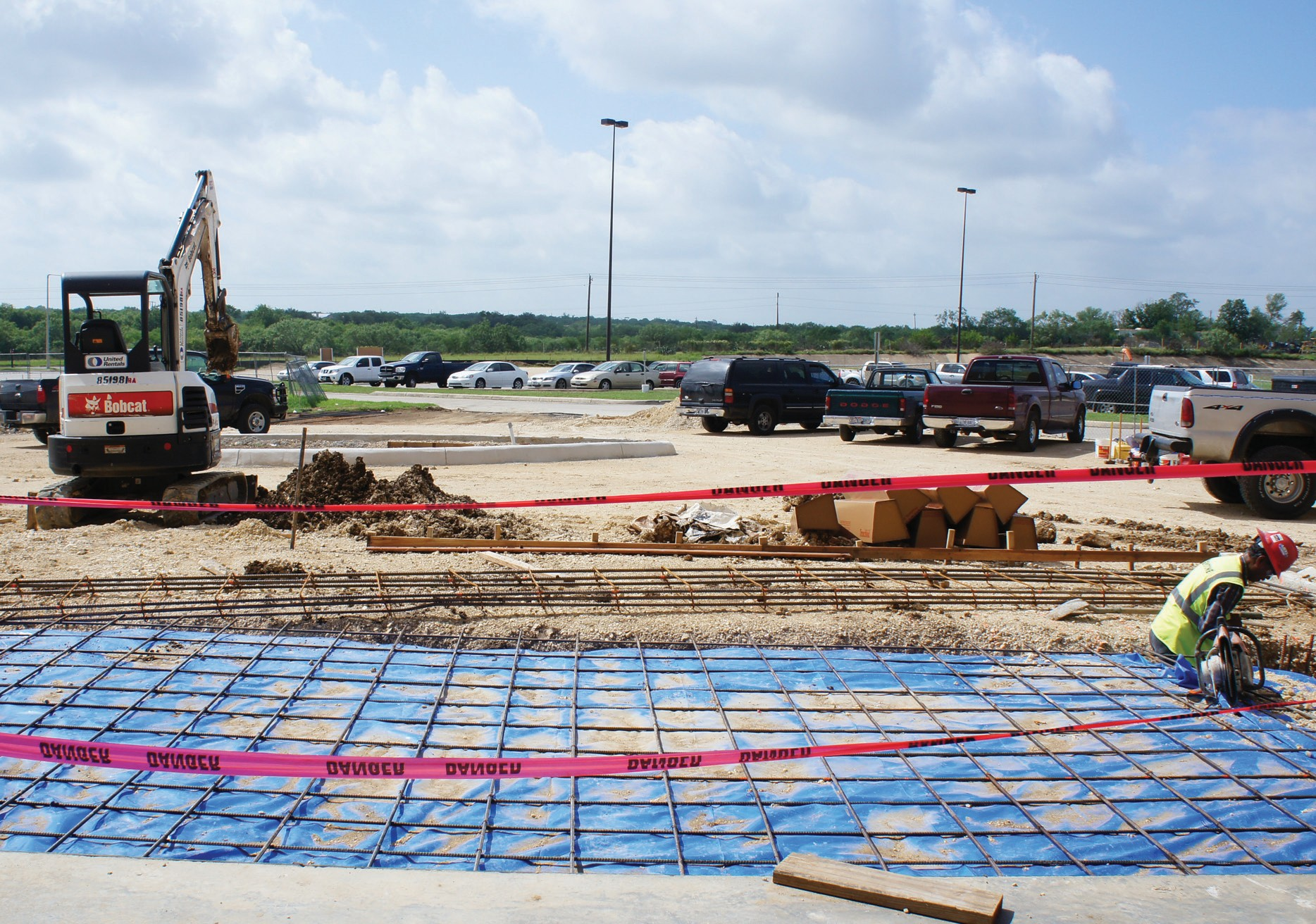 Shown is ongoing construction at the area in front of South Texas Medical Plaza, which will reroute the drop-off area.