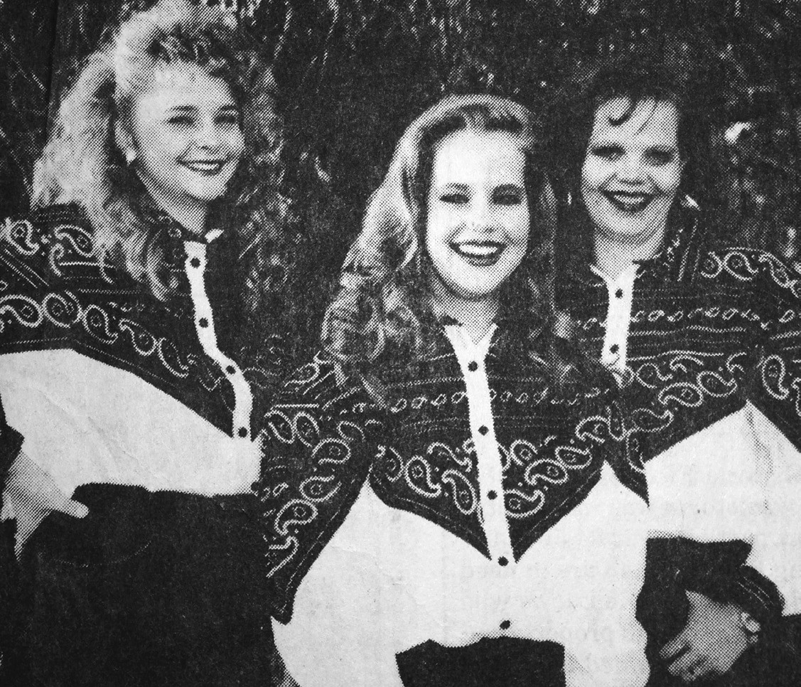 Pictured 1993 Cowboy Homecoming Court of Christy Cochran, Ruth Dowdy and Jennife Mathis.