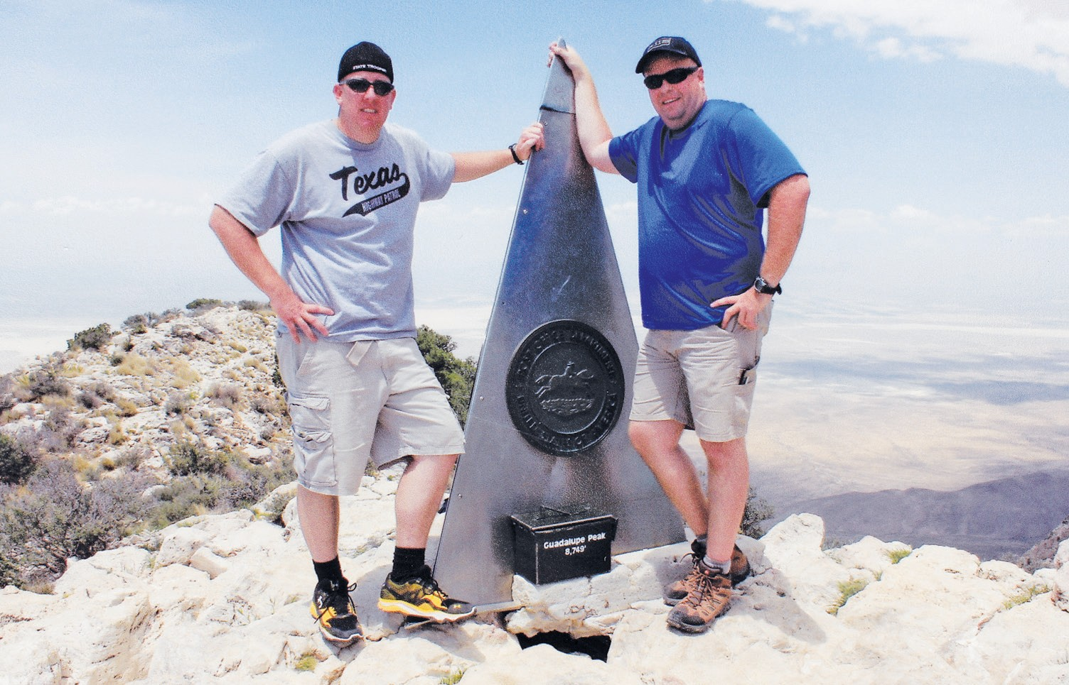 To honor their fellow fallen officers, Troopers (from left) Trent Greebon and Waylon Rogers, participated in Cops on Top by climbing the highest peak in Texas - Guadalupe Peak in the Guadalupe Mountains near Van Horn.