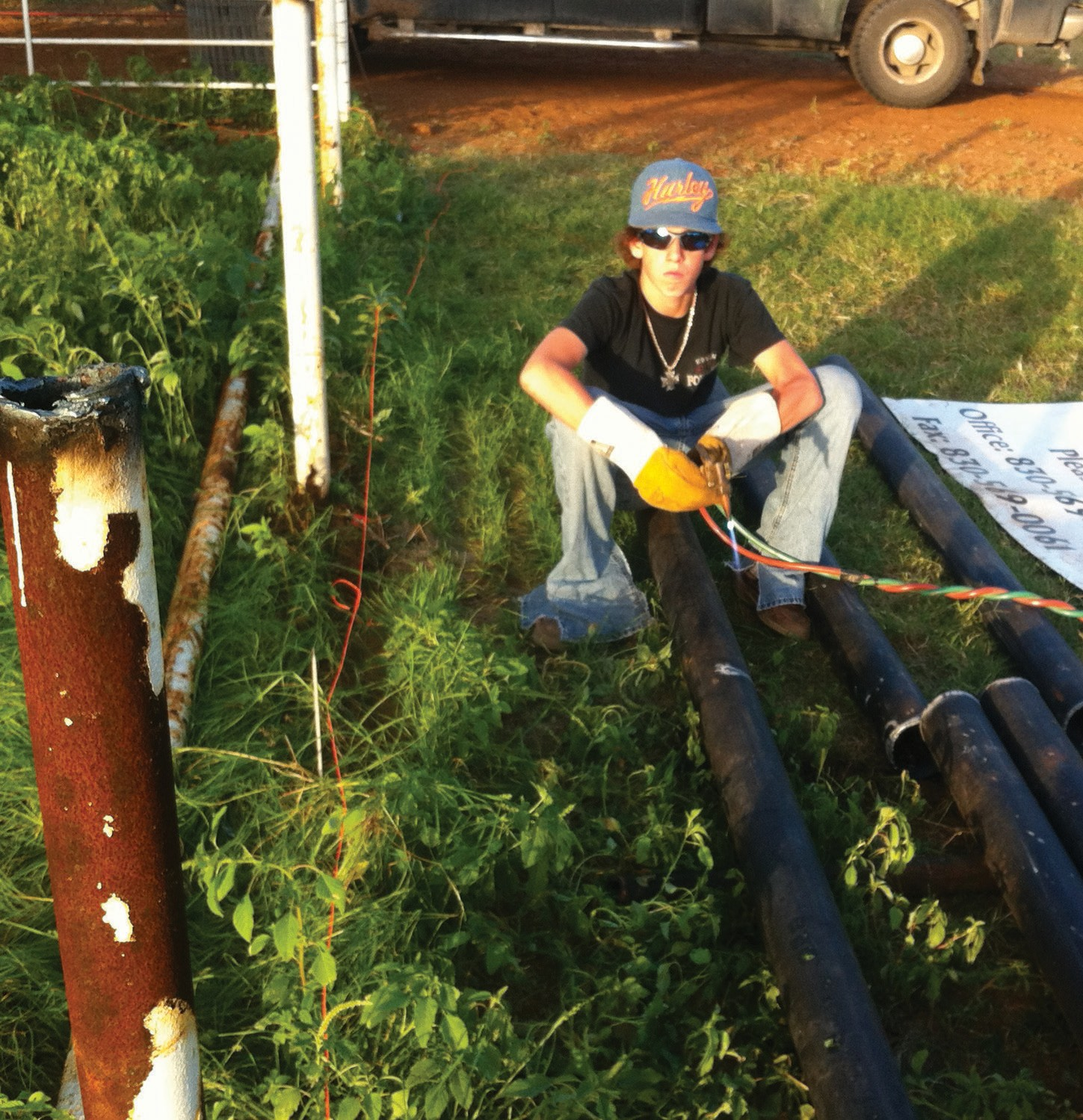 16-year-old Adam Rice, son of Pleasanton Young Farmer Randy Rice and Shelley Rice is welding fence pipe to prepare the rodeo grounds for the PYF Cowboy of the Year Rodeo and Festival, August 16 & 17. A barbeque cook-off, chicken roping, washer tournament and of course, rodeos and dances are all slated for the two-day fest. The naming of the Cowboy of the Year and induction of the South Texas Cowboy Hall of Fame will happen on Friday night at 7:30 p.m. Gary P. Nunn will entertain on Friday and Steve Wariner will headline on Saturday with Bracken Hale Band opening. Tickets are available at Paisley's Boutique, 307 2nd St. Pleasanton.
