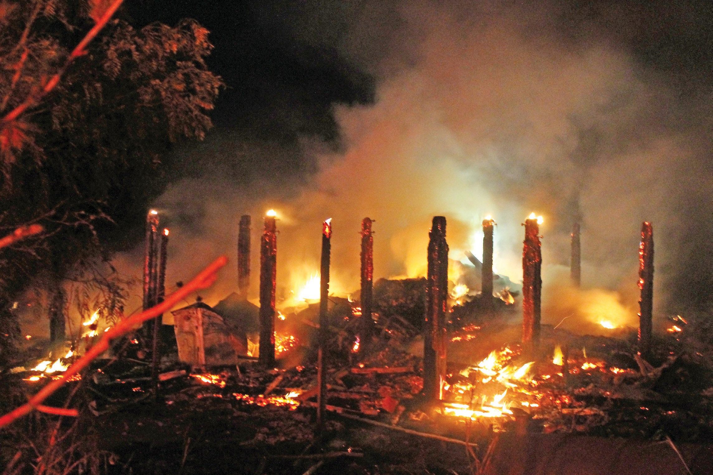 Michael Myrin's stilt house burned at 2 am Friday morning. Mr. Myrin sustained injuries while trying to escape the fire.