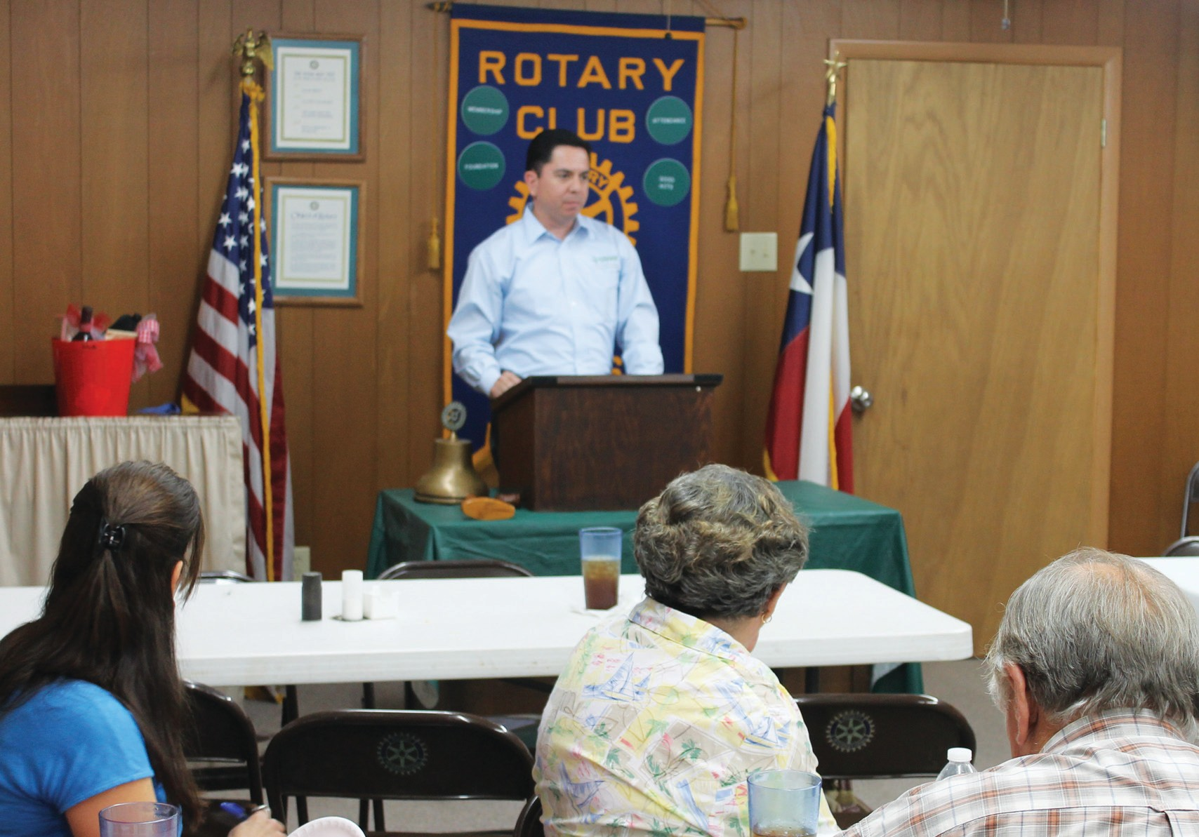 STEER President and CEO Omar Garcia addressing Poteet Rotarians at their noon meeting, Wednesday, August 14.