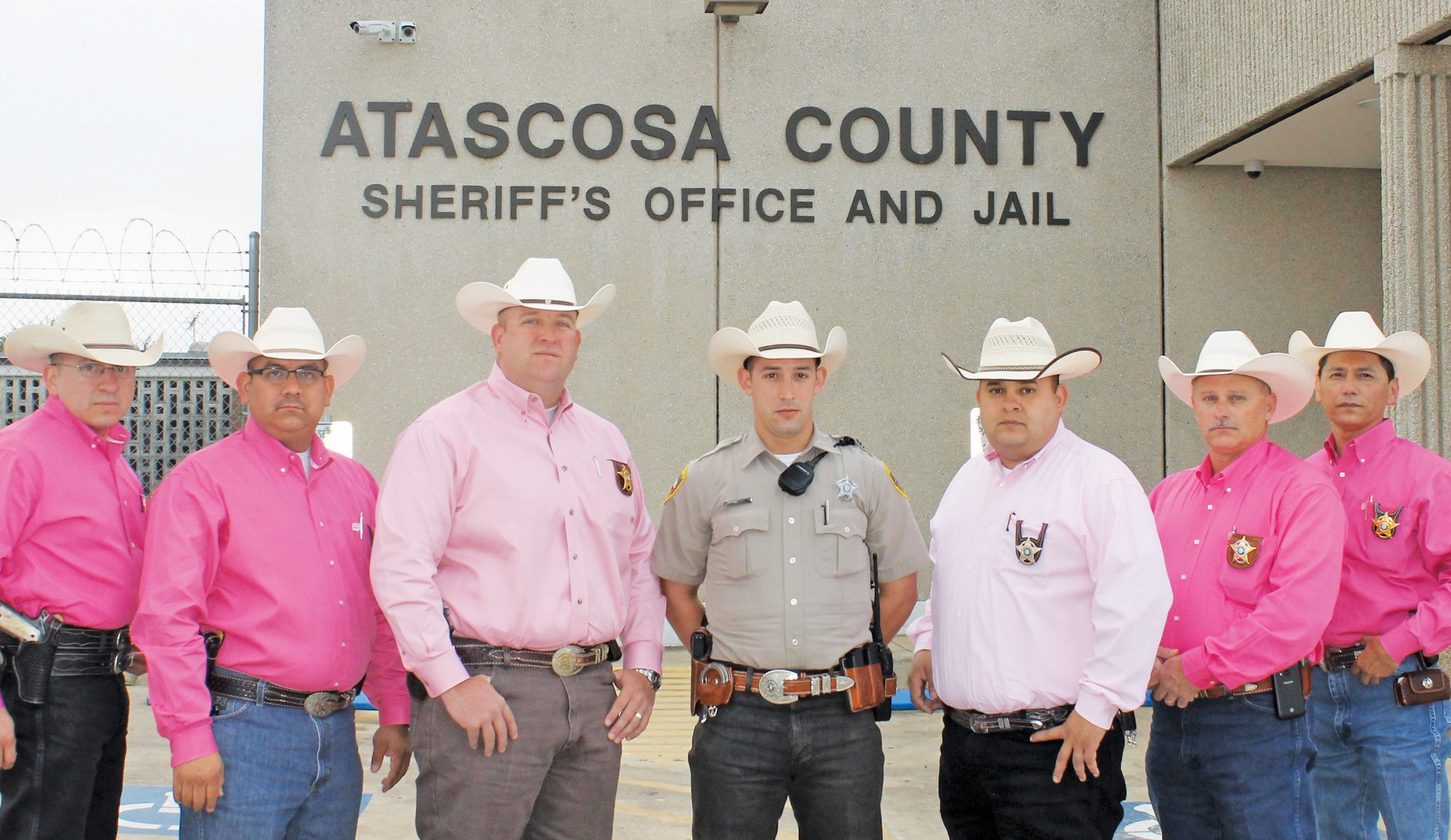 The Atascosa County Sheriff's Department wore pink on Tuesday, October 1 in honor of Breast Cancer Awareness Month. Left to right are: Sgt. Investigator Max Peralta, Sgt. Investigator Albert Garza, Captain Investigator Matt Miller, Deputy Stephen Wilson, Sgt. Investigator Jesse Martinez, Lt. Investigator Wayne Stratton and Chief Investigator Jake Guerra.