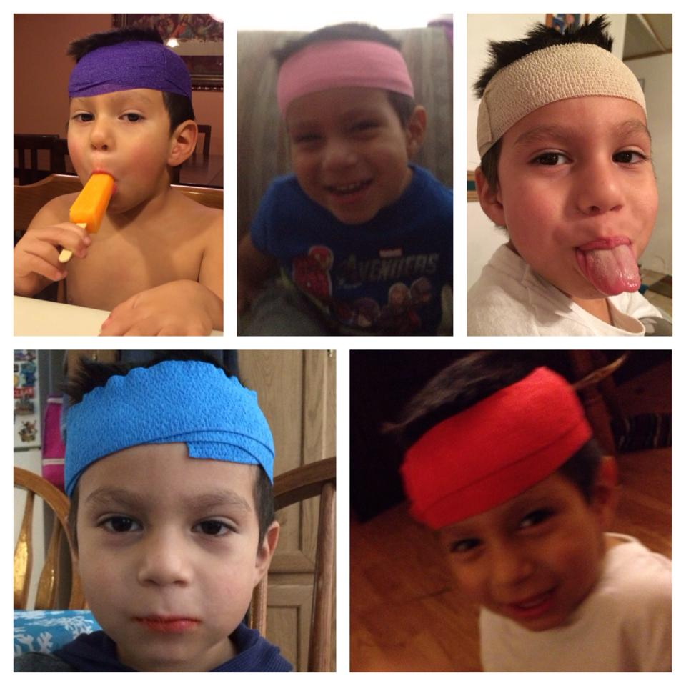 Augie modeling his head wrap in many colors.