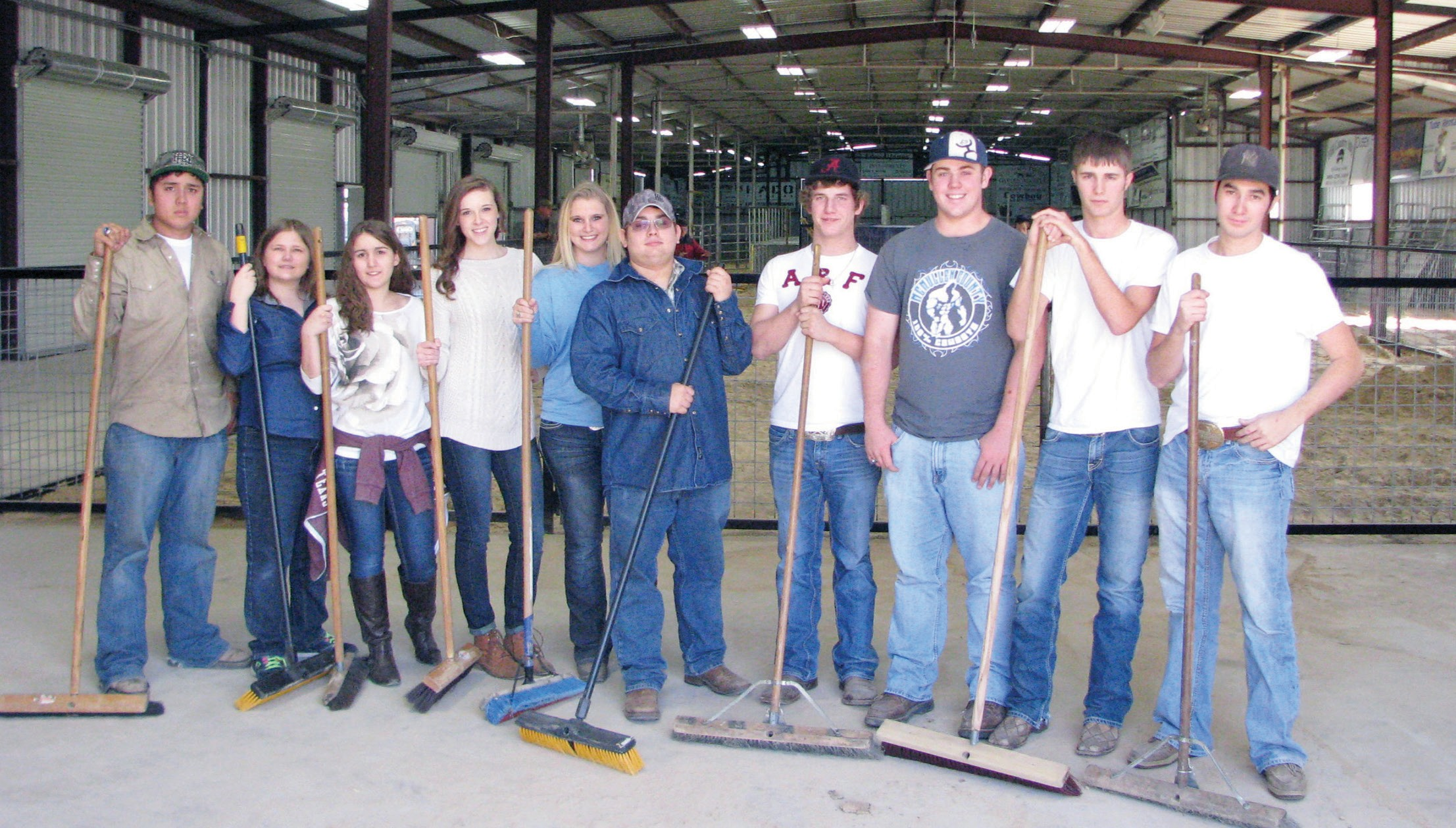 McMullen County high school seniors help to put the finishing touches on the new addition to the show barn in preparation for the McMullen County Jr. Livestock Show this weekend Jan. 24 and 25. The group of Tilden FFA members are Jimm Casas, Kaitylyn Fohn, Sarah White, Heather Gillin, Ashley Stover, Kye Maddox, Chad May, Trent Ruhmann, Clay Atkinson and Joaquin Cavazos.