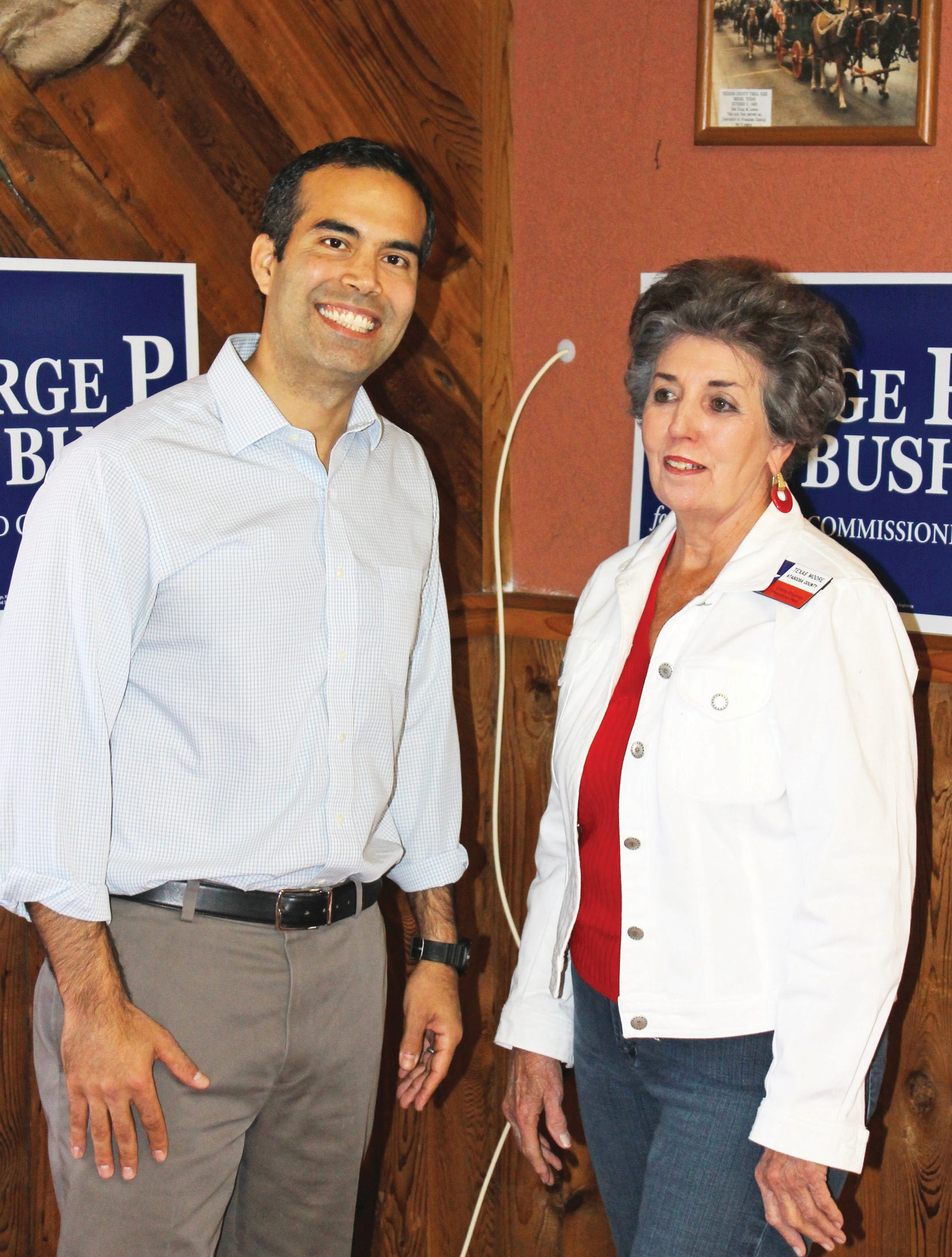 Texas Land Commissioner candidate George P. Bush meets with Atascosa County Republican Chair Texas Moore.