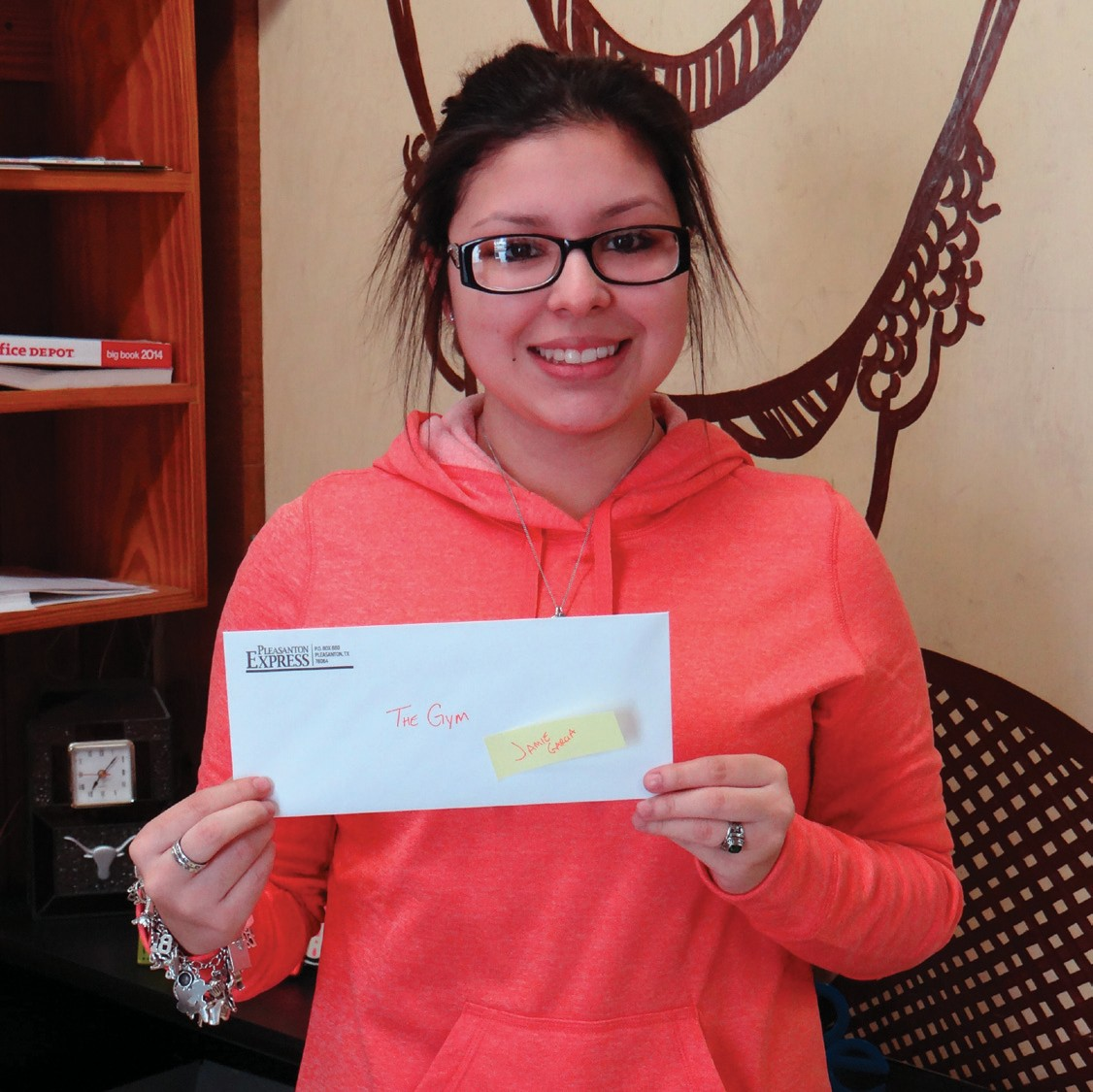 Scavenger Hunt grand prize winner Jamie Garcia was excited about the six-month membership to They Gym in Jourdanton. Jamie also won a $25 gift card to Reina's Scrub Shop.