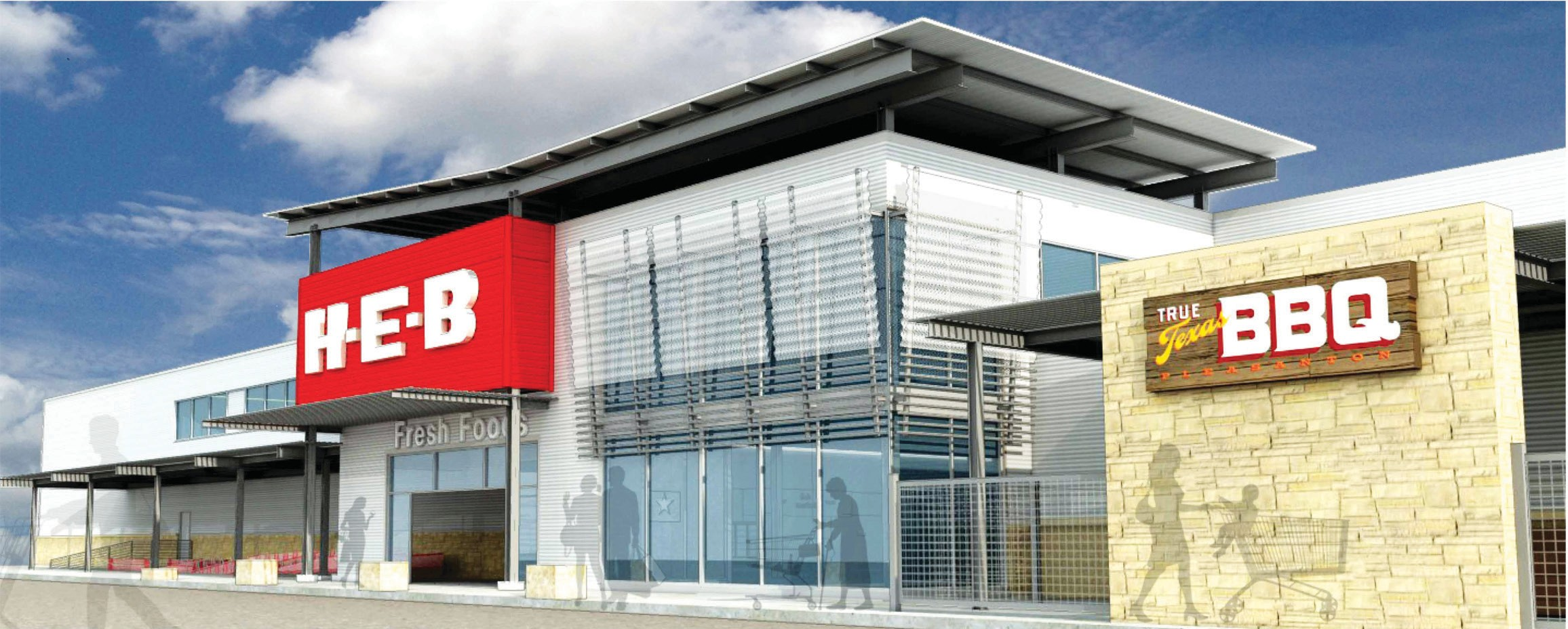 Shown is a view of what some of the exterior will look like when completion is done on the new HEB.