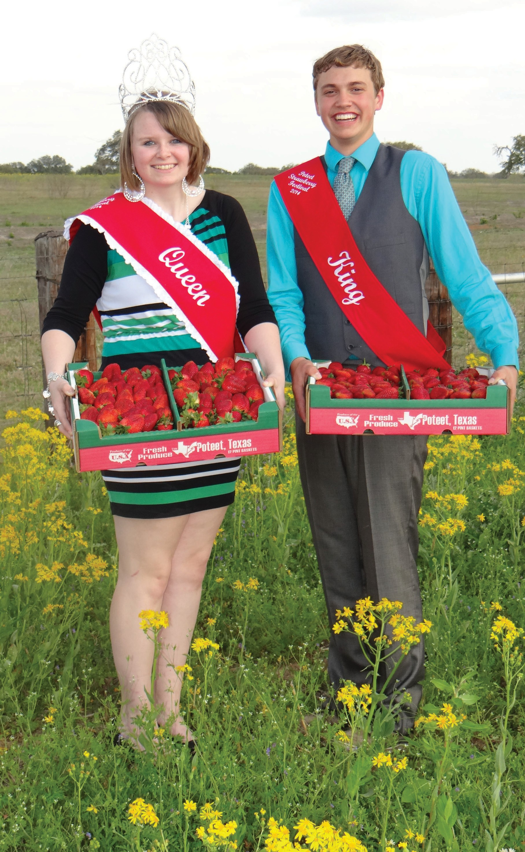 Queen Caitlin Crisp and King Clayton Akers invite everyone to the 67th Strawberry Festival this weekend, April 4-6. Great entertainment, rodeos, dances, concerts, food, auctions and more are planned to make it a fun filled time.