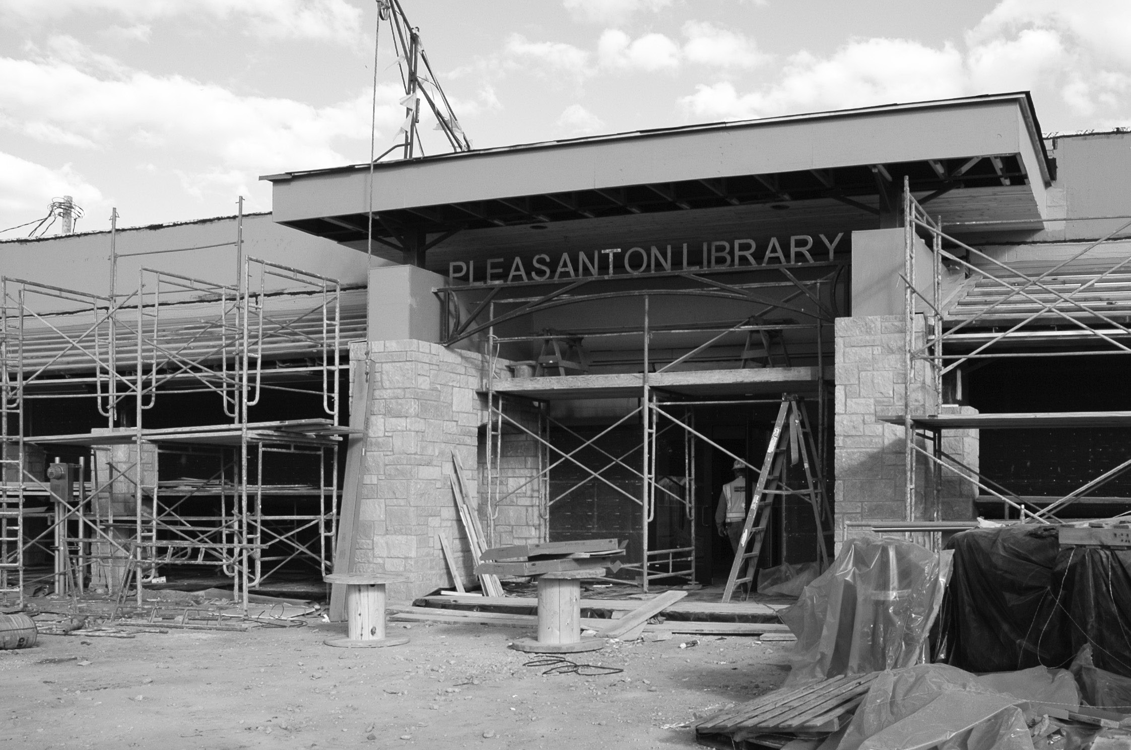 The front of the library on the west side is making progress.