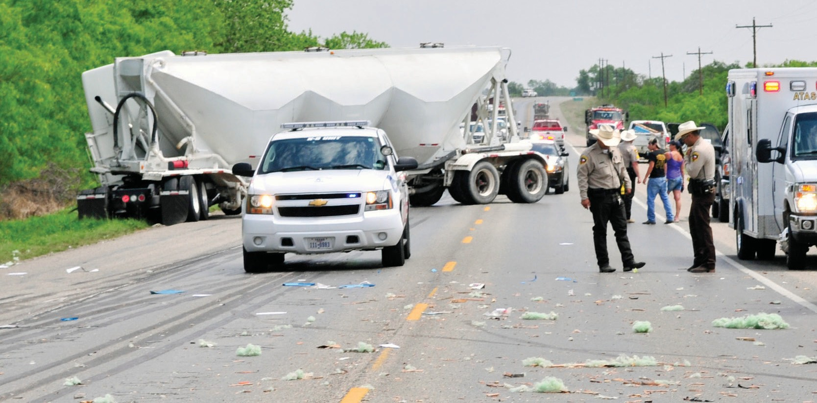 A trailer came off the back of a truck as it was driving between Jourdanton and Charlotte on Hwy. 97, causing two 18 wheelers to jack-knife as they attempted to avoid colliding with the trailer around 2 p.m. on Saturday, April 12. Jourdanton VFD worked the scene for over two hours. Two people involved were transported to STRMC.
