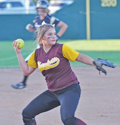 Charlotte's Makayla Groff prepares to throw out a Junction base runner in a bi-district round loss Monday night.