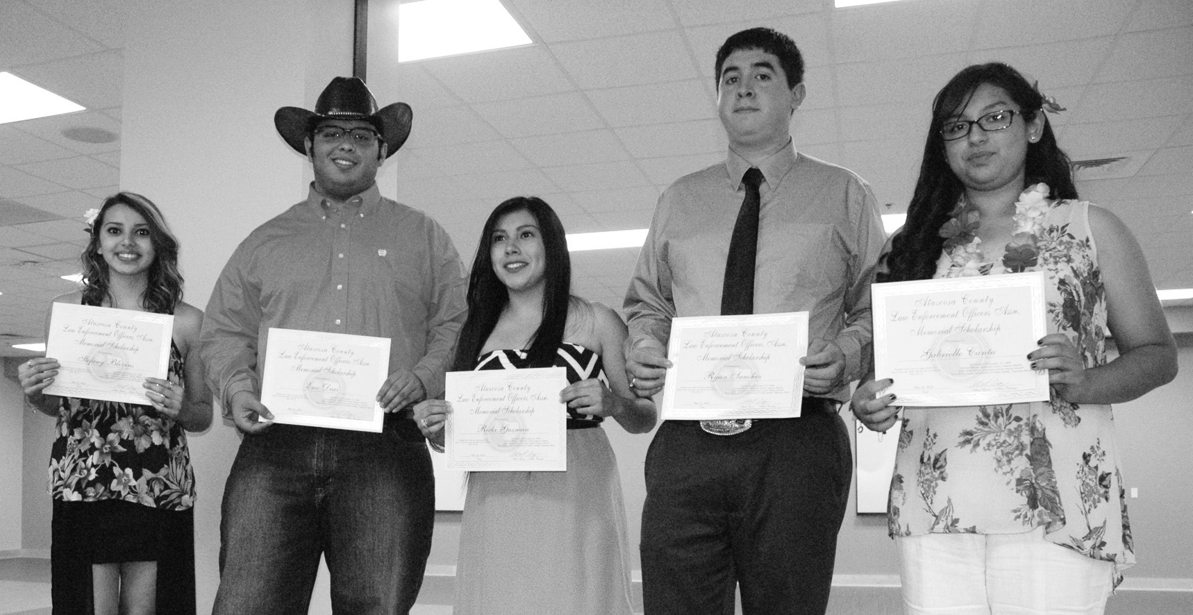 ACLEOA Thomas Monse-Mark Stephenson-Terry Miller Memorial Scholarships recipients are, left to right, Stefany Blevins, Eric Diaz, Ricki Guzman, Ryan Sanchez and Gabrielle Cantu.