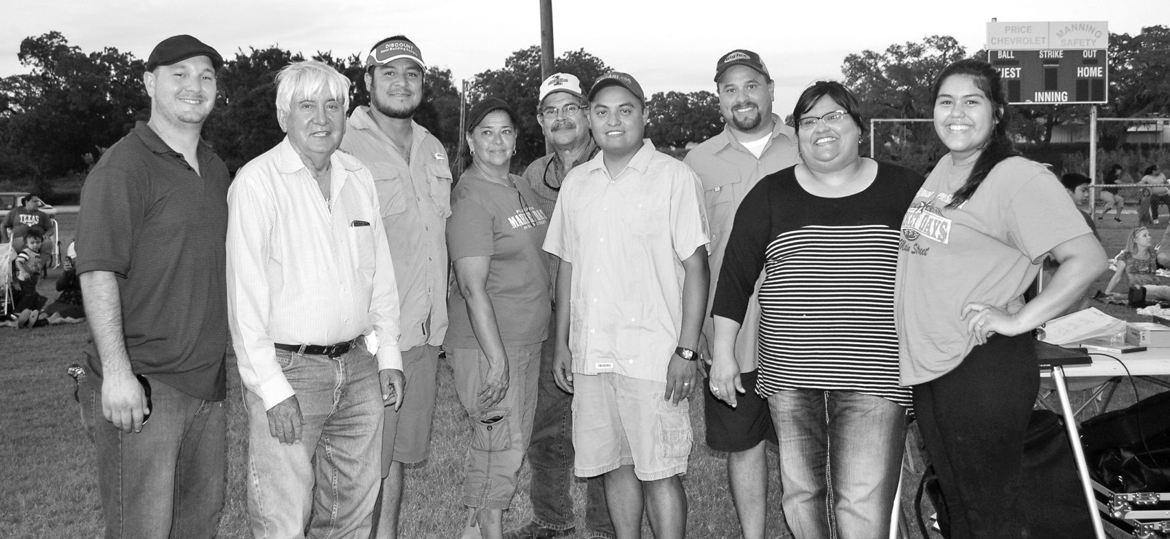 "The Pleasanton Hispanic Chamber of Commerce was pleased with their first Cinema in the Park event held last Saturday. About 150 turned out to watch ""Despicable Me 2"" at the Atascosa Riverpark baseball field. Helping to plan this and future events are, left to right, Gilbert Salas, Joe Trevino, Roel Mares, Carolyn Moreno, Hector Moreno,DJ Herrera, David Douglas, Mary Ortiz and Vanessa Ortiz."