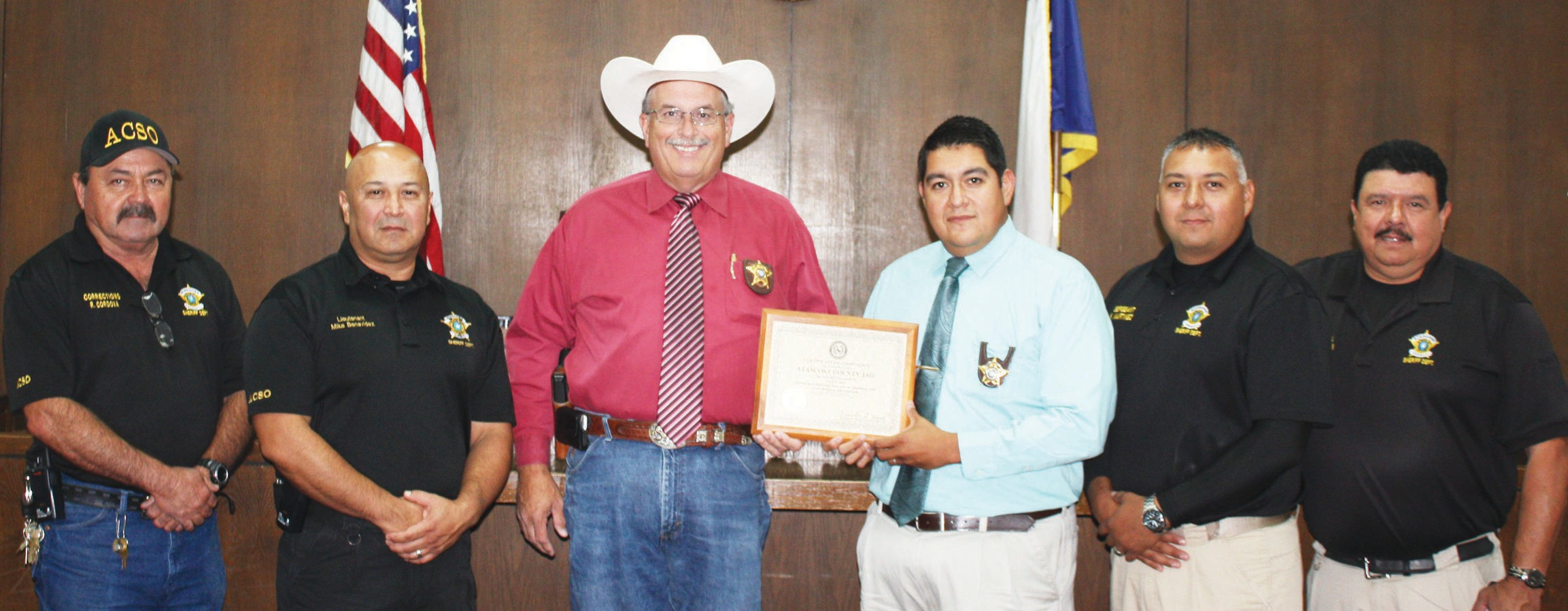 Recently the Atascosa County Jail received its annual inspection by the Texas Commission on Jail Standards. For the second year in a row under Sheriff David Soward, the jail passed inspection without any problems. It's the 34th consecutive year the county jail has passed inspection dating back to former Sheriff Tommy Williams' tenure. Pictured with the State Compliance Certificate are, (left to right) Maintenance Supervisor Richard Cordova, Jail Lieutenant Mike Benavides, Sheriff Soward, Jail Administrator Martin Gonzales, Corrections Sergeant Kenny Martinez and Corrections Corporal Felix Herrera.